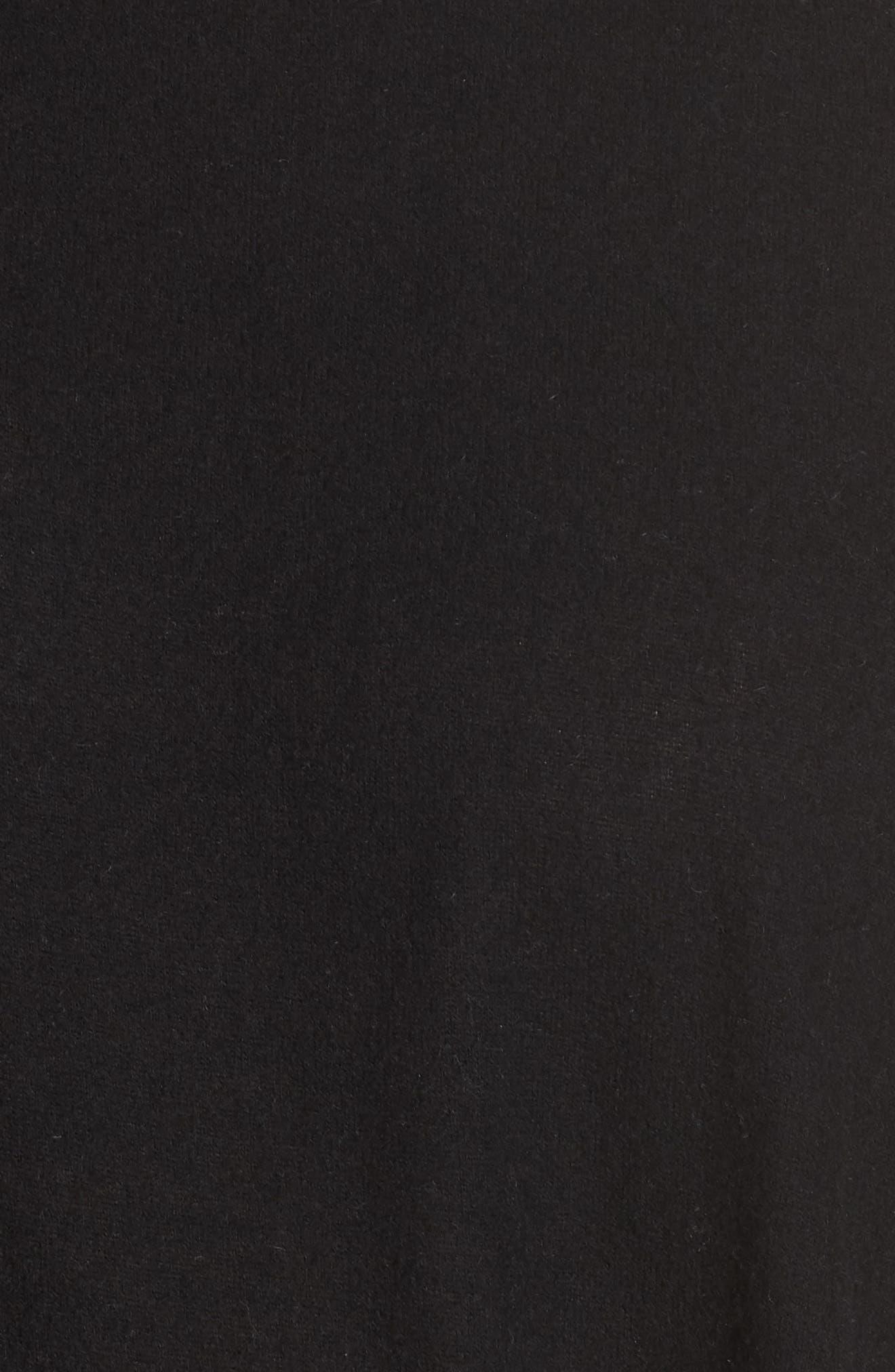 Fuzzy Tie Front Sweatshirt,                             Alternate thumbnail 5, color,                             BLACK