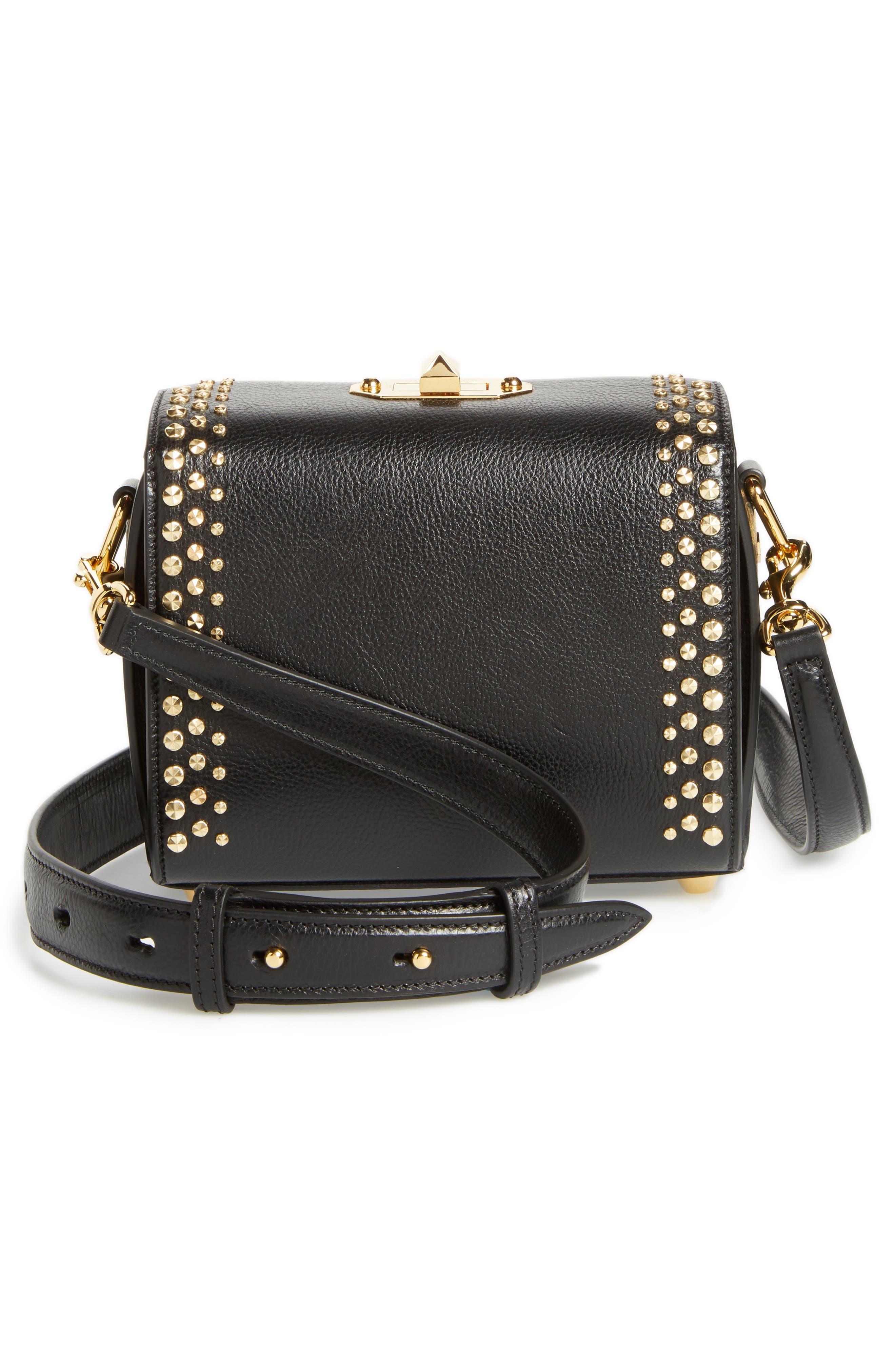 Box Bag 19 Studded Leather Bag,                             Alternate thumbnail 3, color,                             BLACK