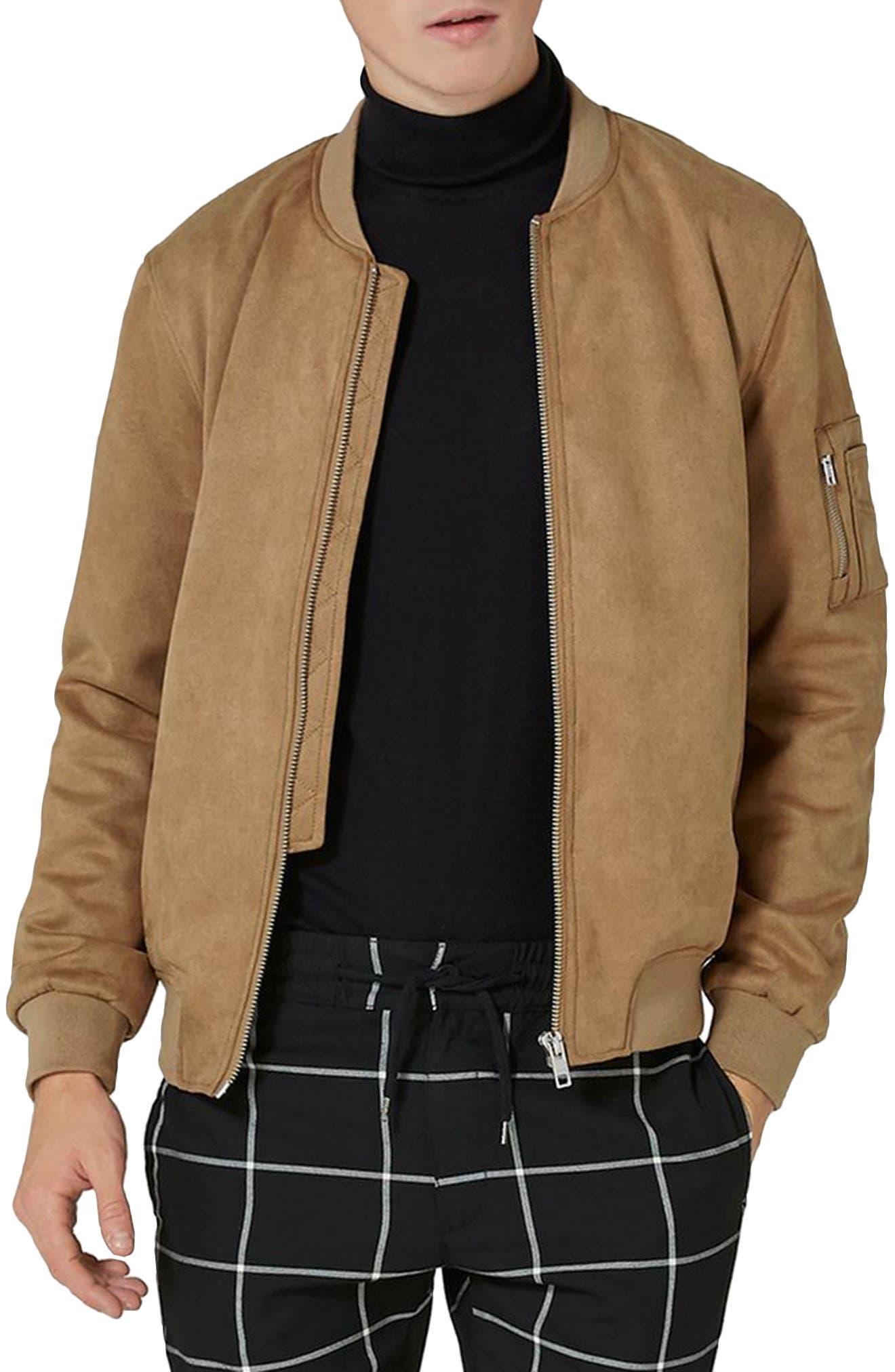 Faux Suede Bomber Jacket,                         Main,                         color, 200