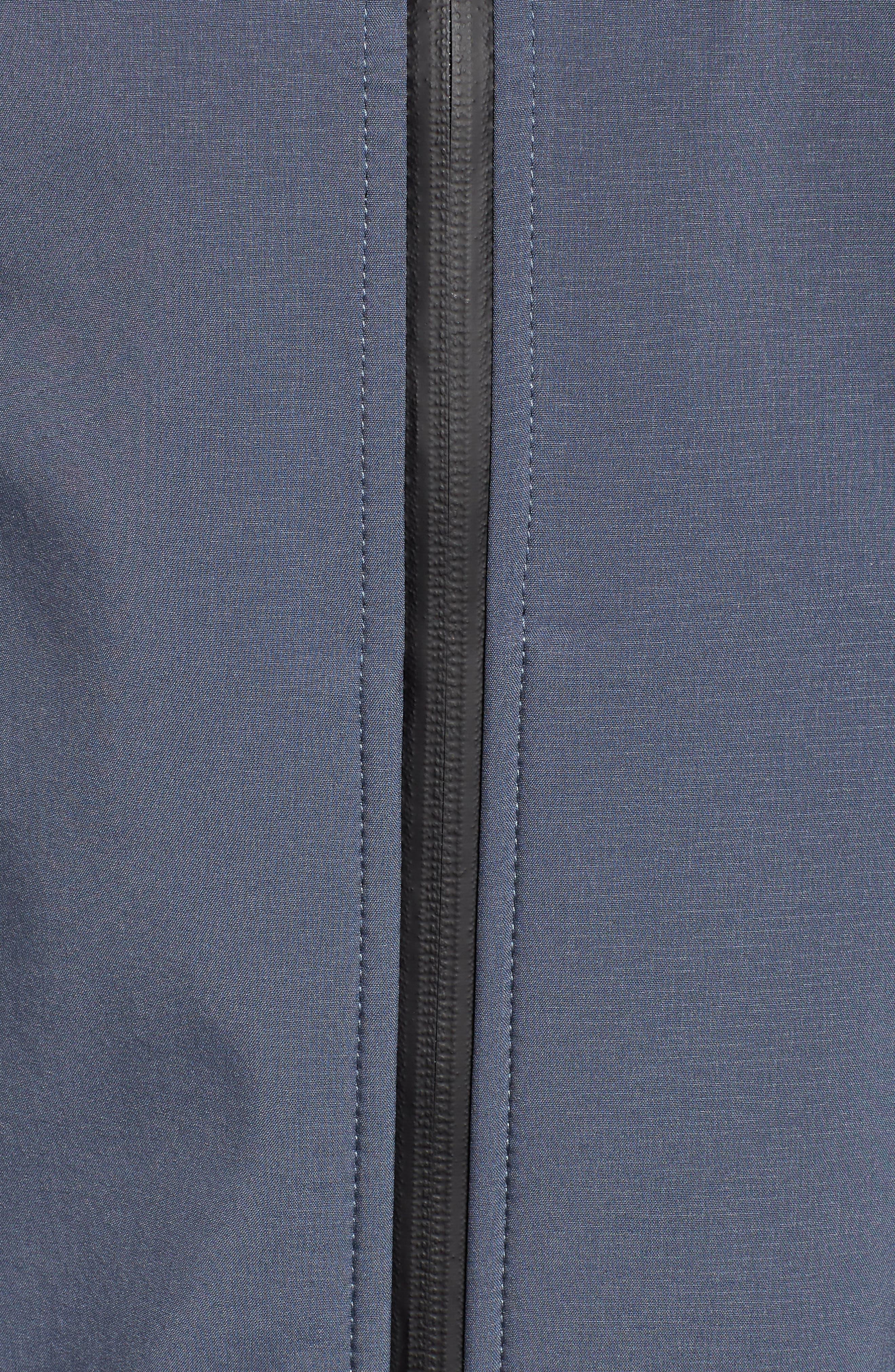 Long Hooded Raincoat,                             Alternate thumbnail 6, color,                             BLUE GRAYNESS