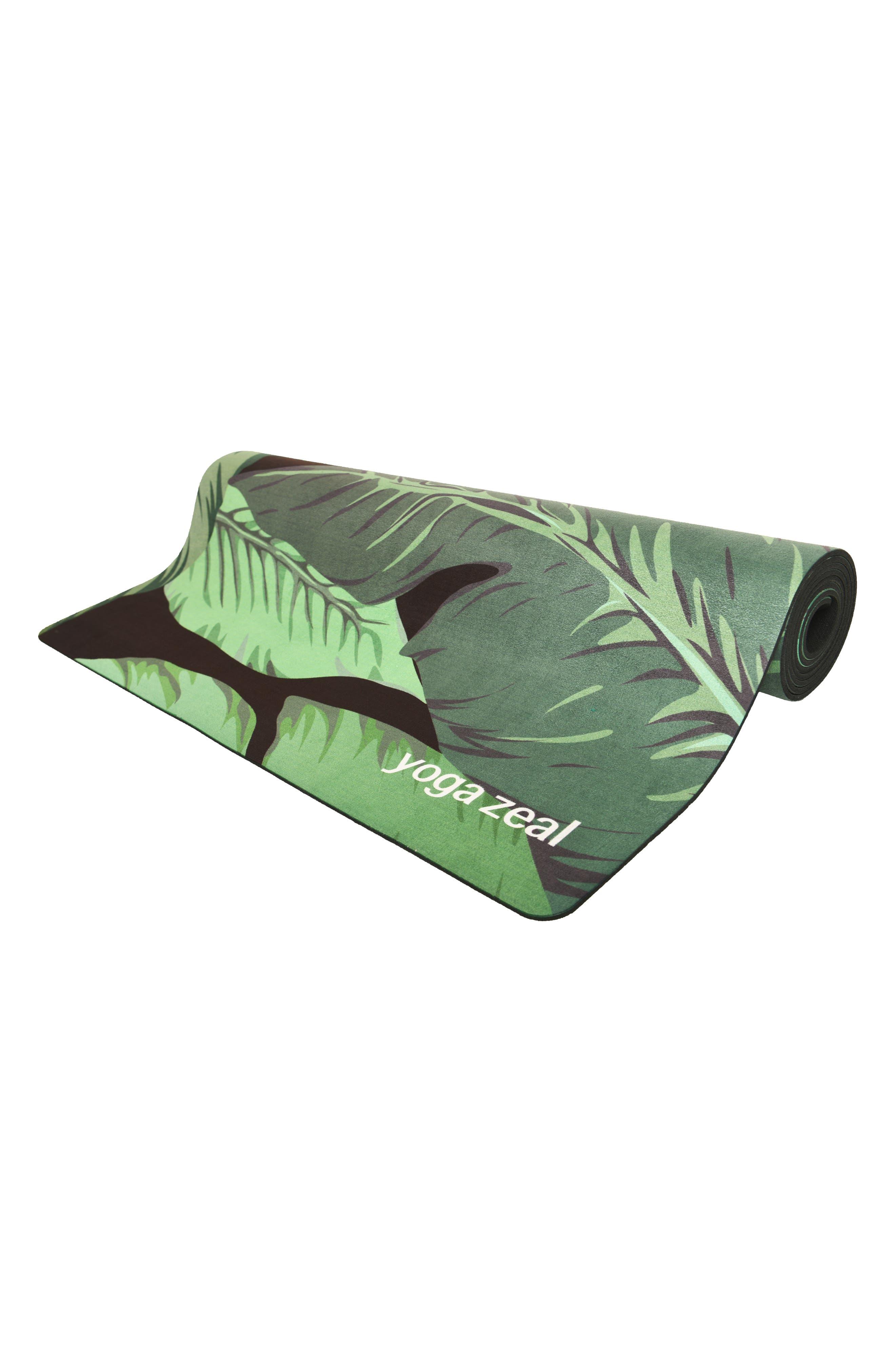 Banana Leaf Print Yoga Mat,                             Alternate thumbnail 3, color,                             BLACK