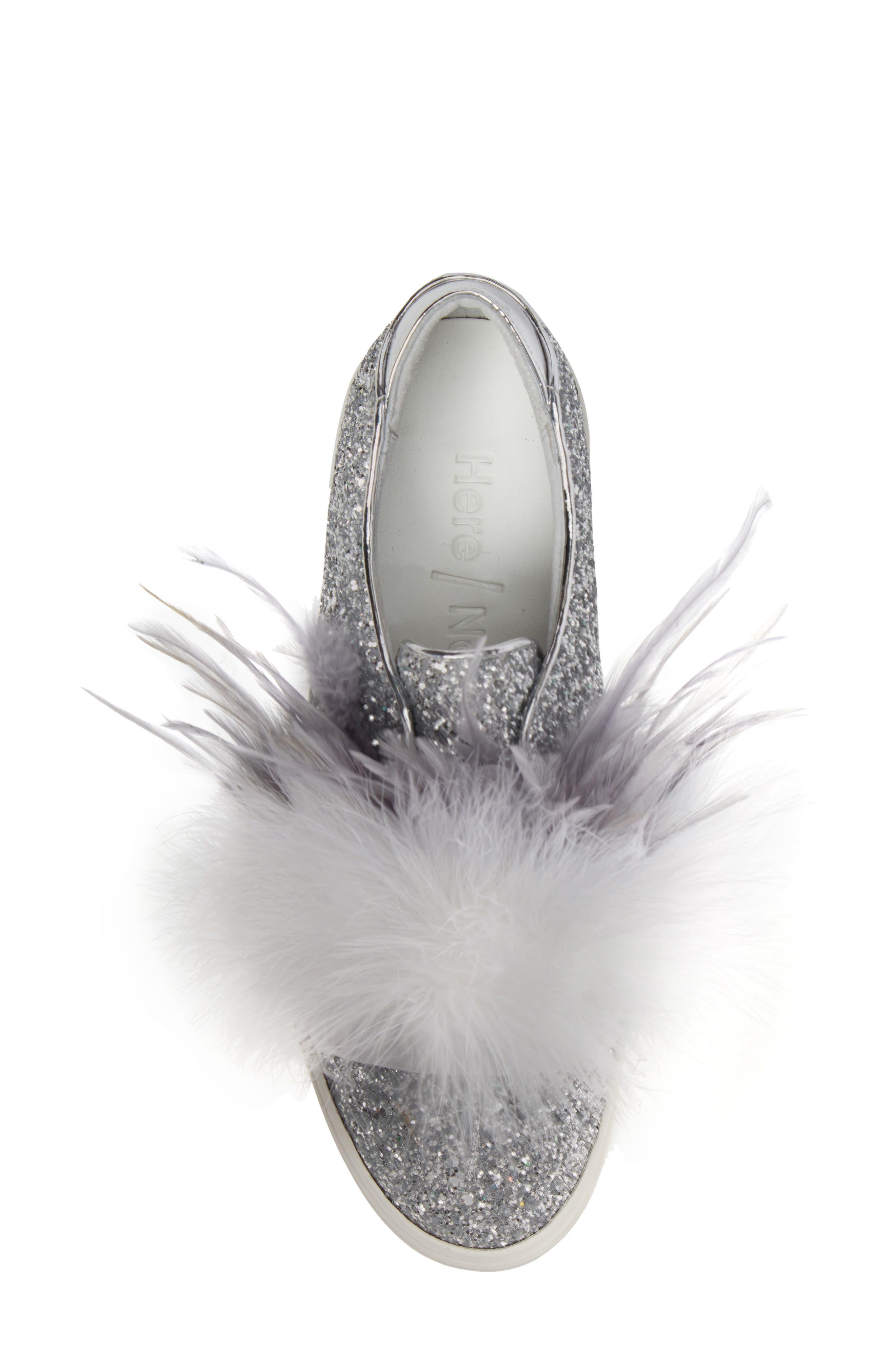 Kate Feathered Slip-On Sneaker,                             Alternate thumbnail 5, color,                             020