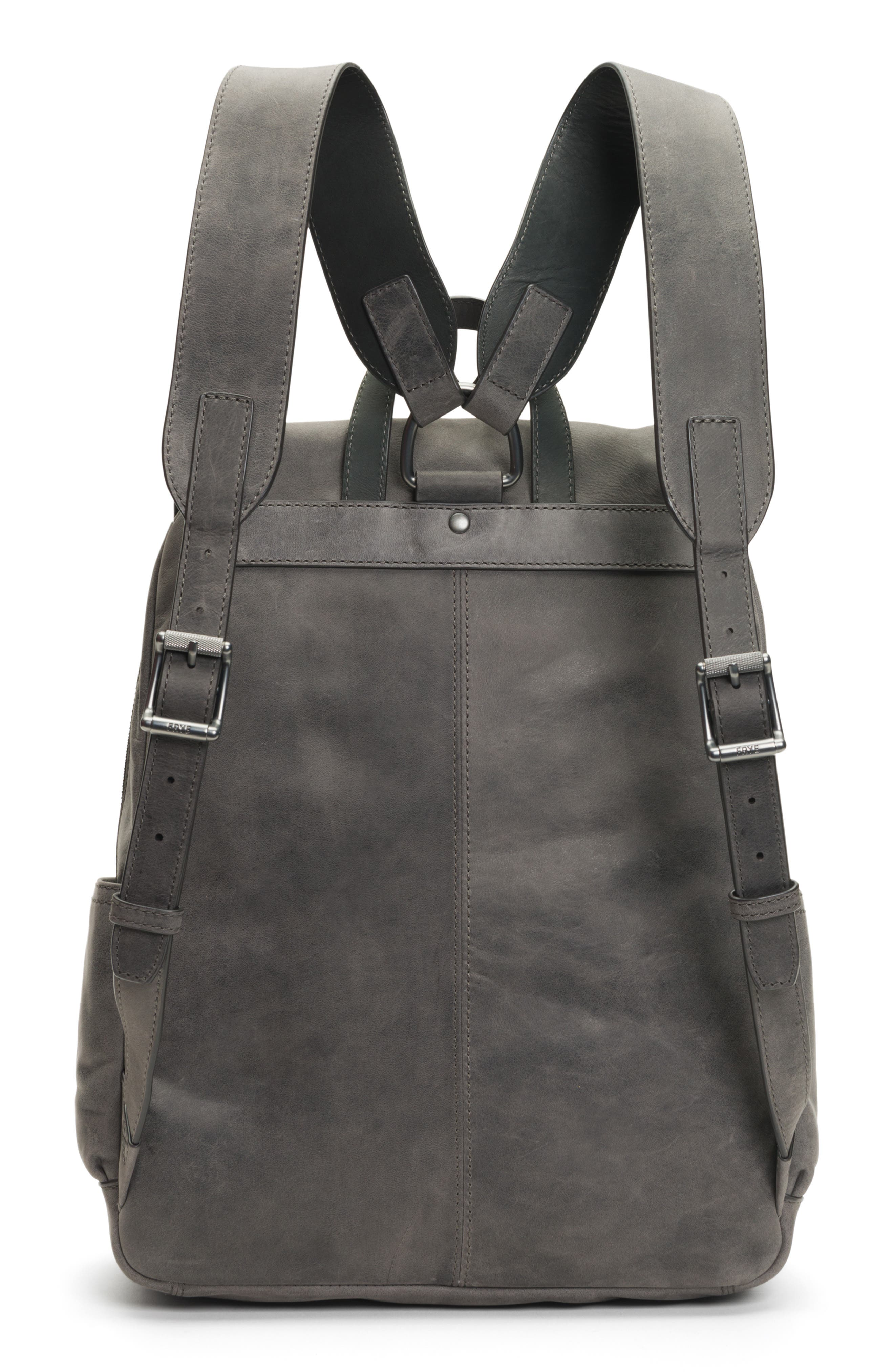 Oliver Leather Backpack,                             Alternate thumbnail 3, color,                             SLATE