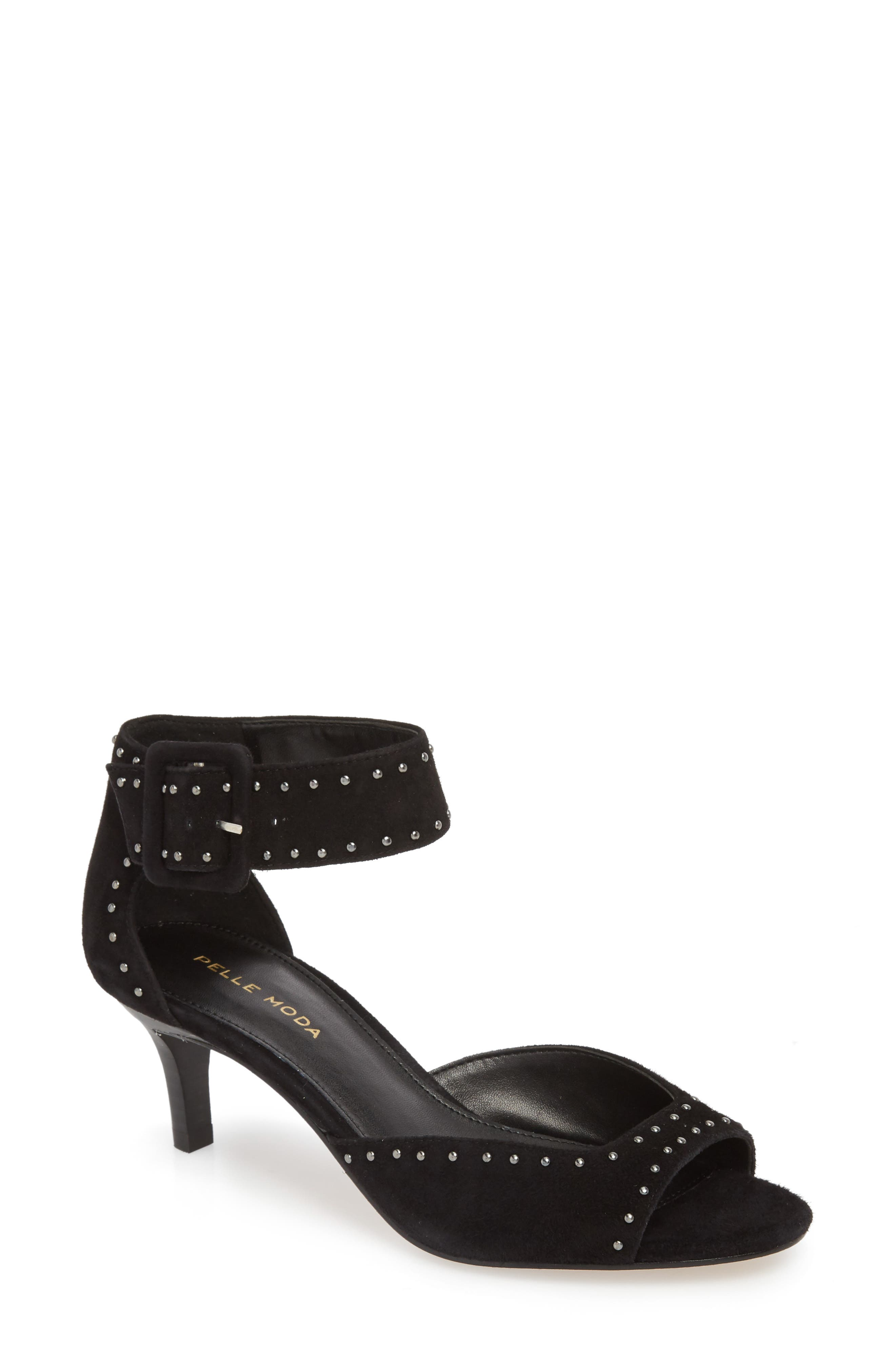 'Berlin' Sandal,                         Main,                         color, BLACK/ BLACK SUEDE