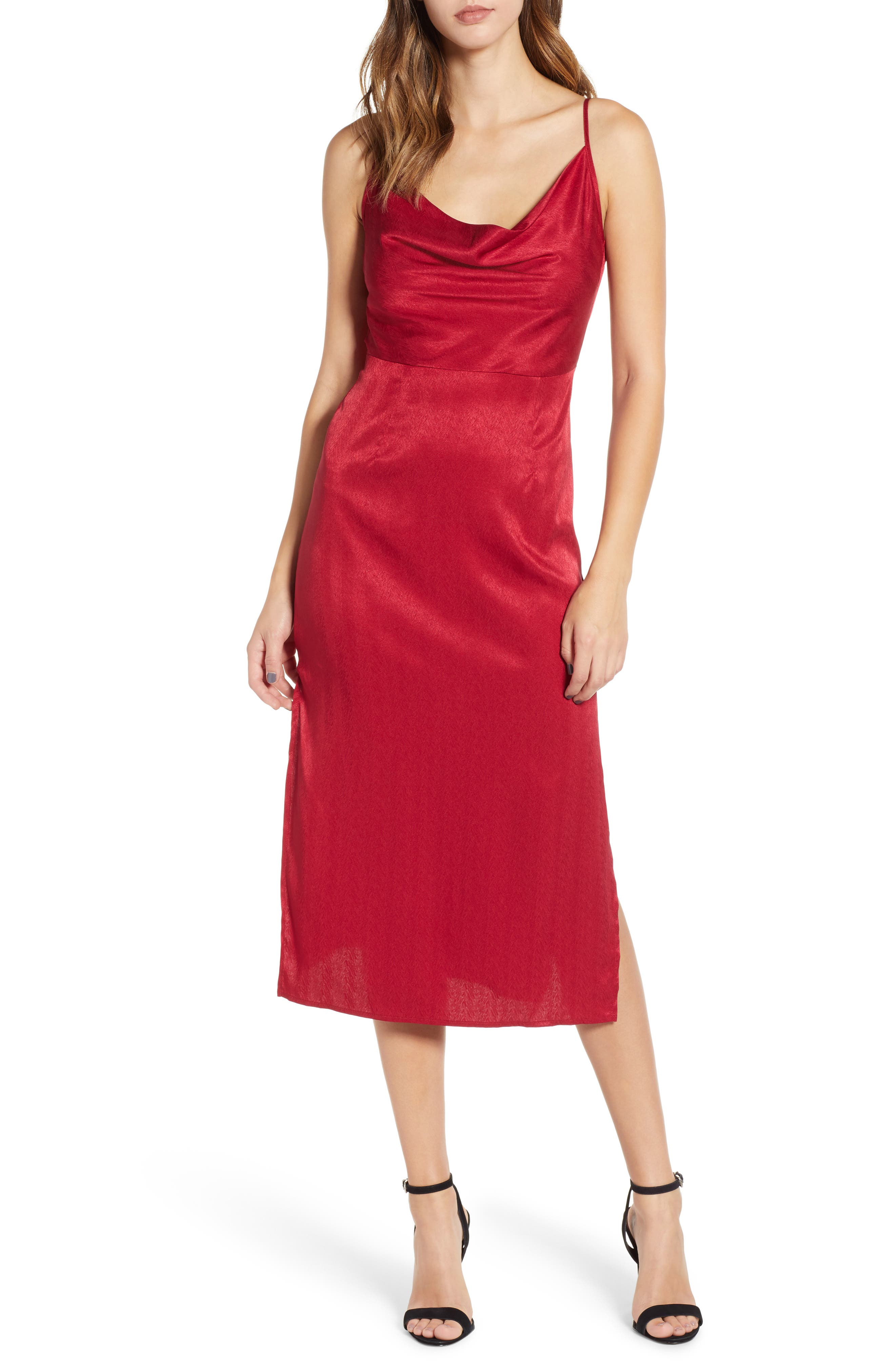 Lotti Cowl Neck Midi Dress,                             Main thumbnail 1, color,                             CHERRY