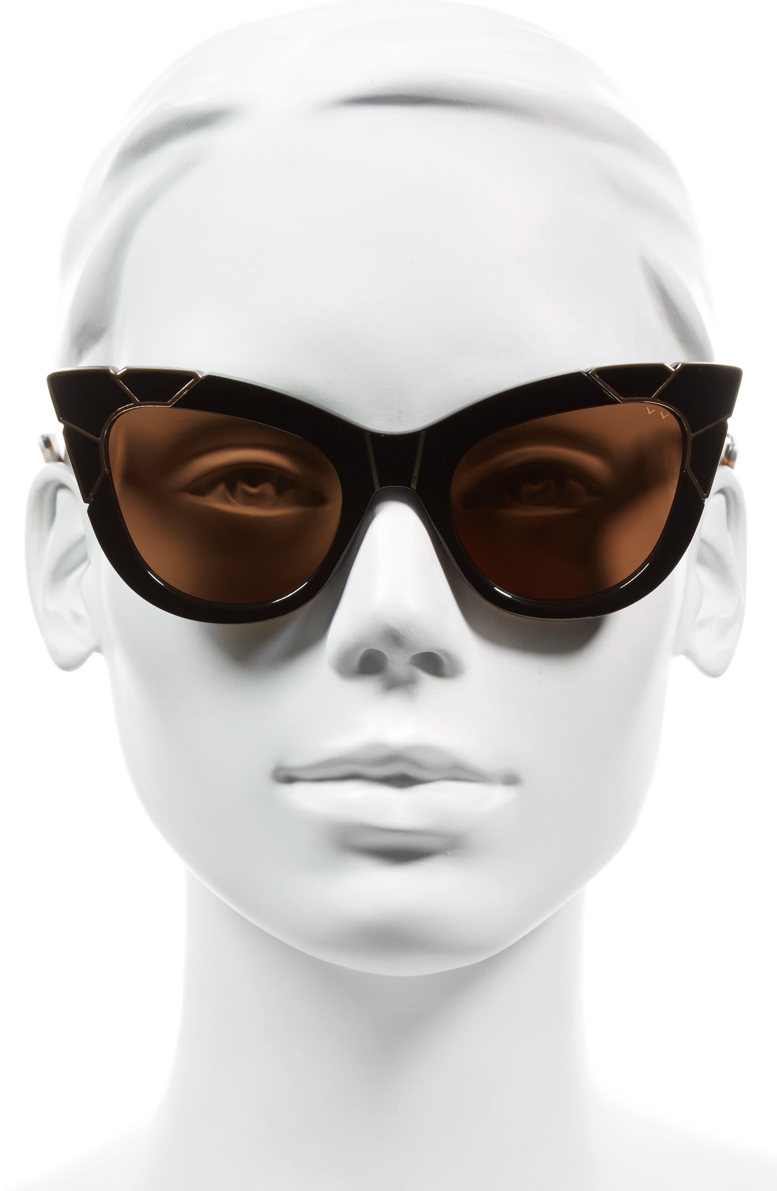 Puss & Boots 49mm Cat Eye Sunglasses,                             Alternate thumbnail 2, color,                             BLACK/ GOLD/ BLACK BROWN