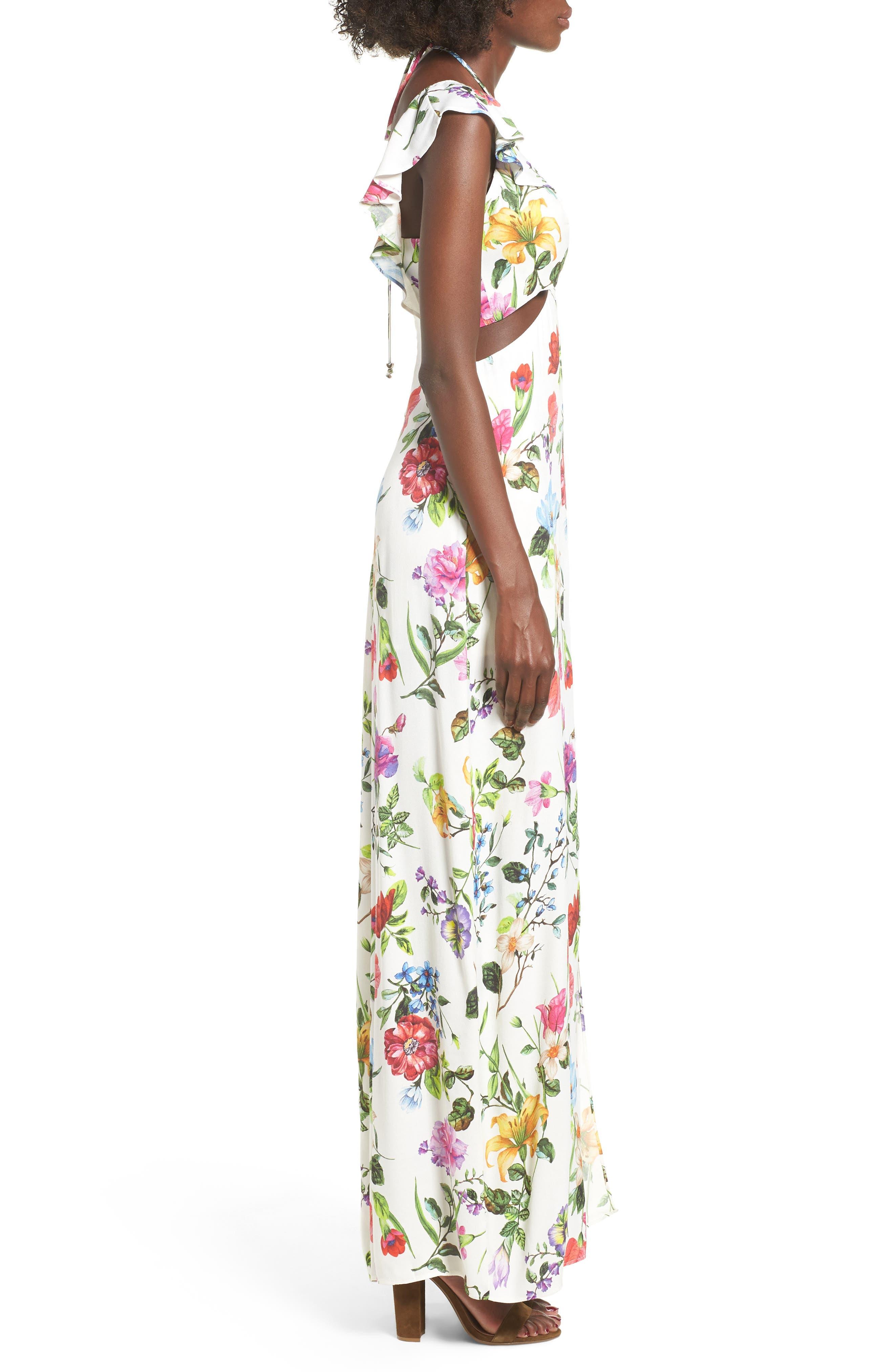 Alya Maxi Dress,                             Alternate thumbnail 3, color,                             JARDIN BLANC