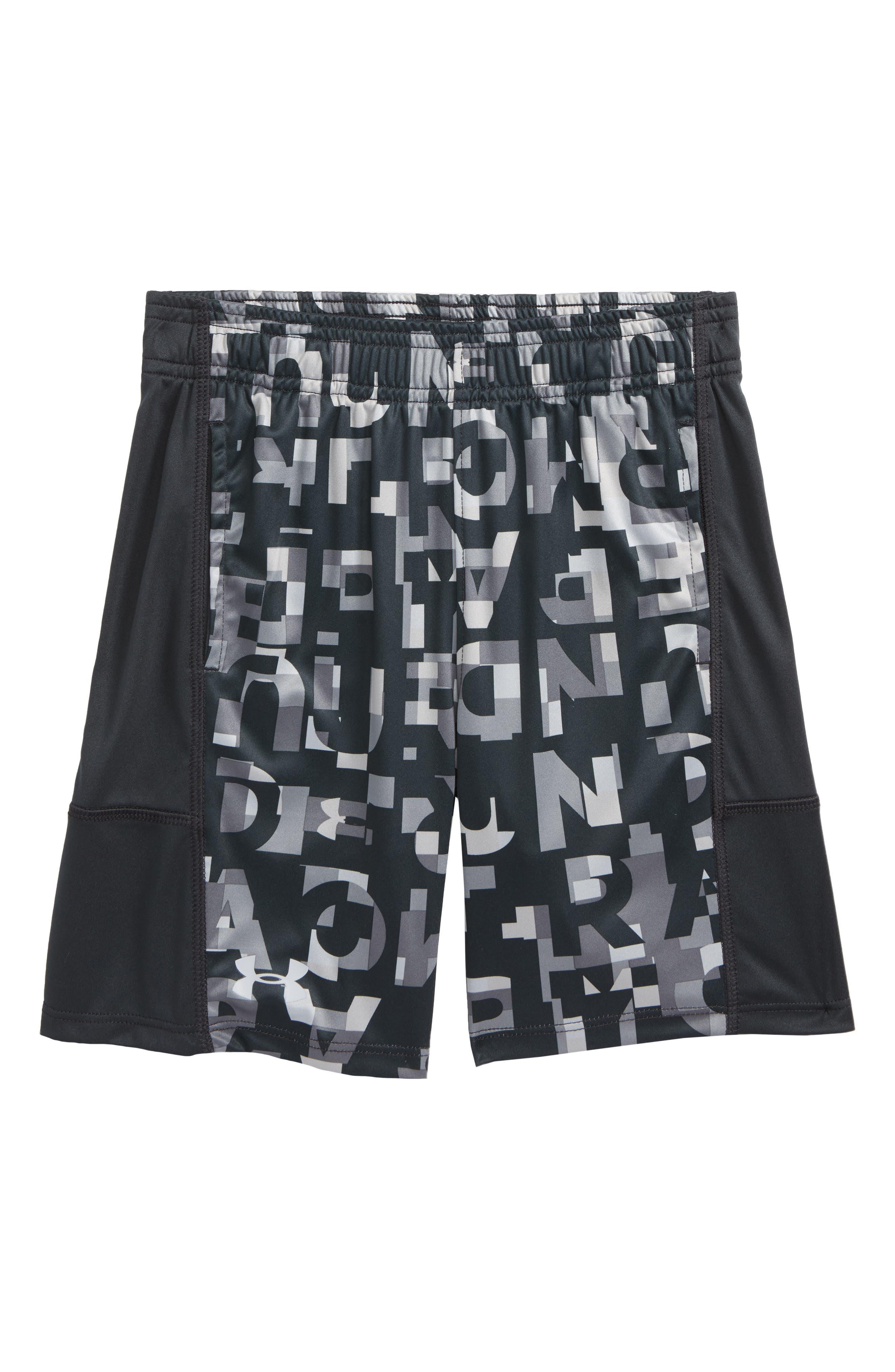 Wordmark Stunt HeatGear<sup>®</sup> Shorts,                         Main,                         color, 020