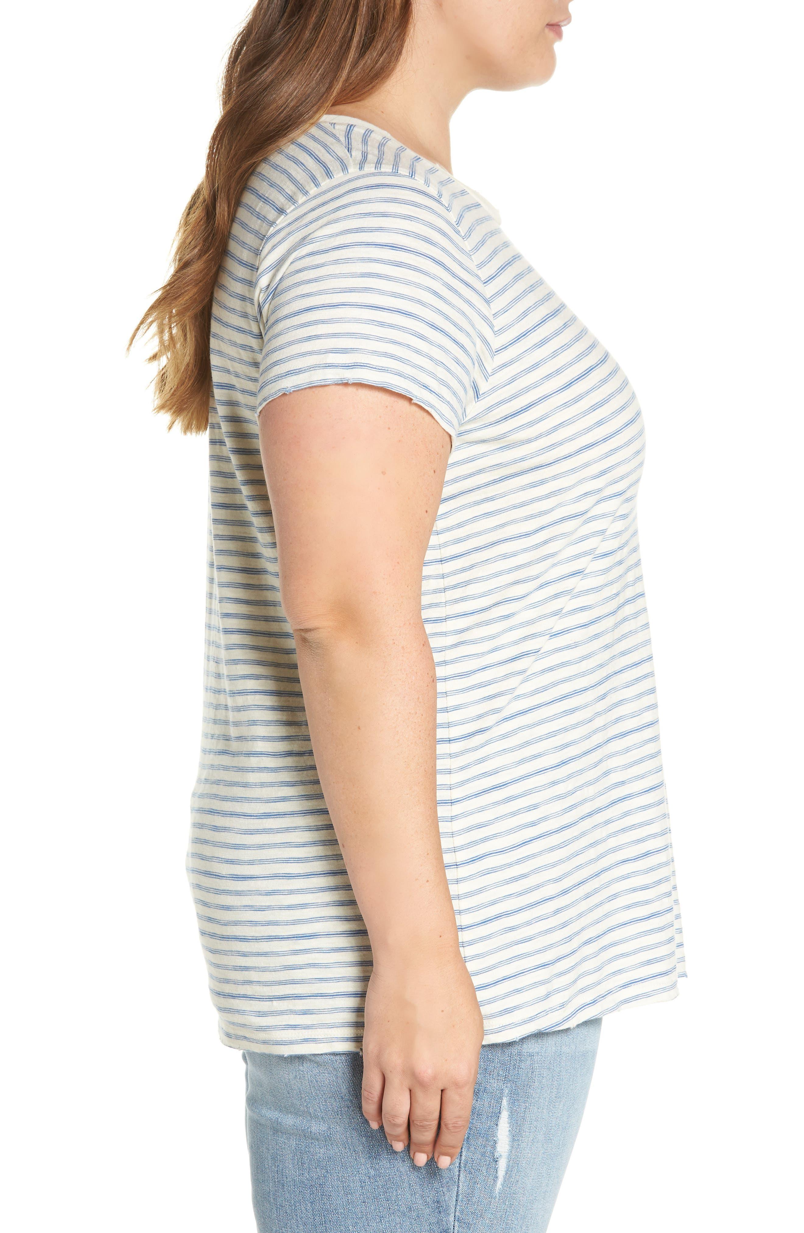 Lace-Up Shoulder Stripe Tee,                             Alternate thumbnail 3, color,                             460