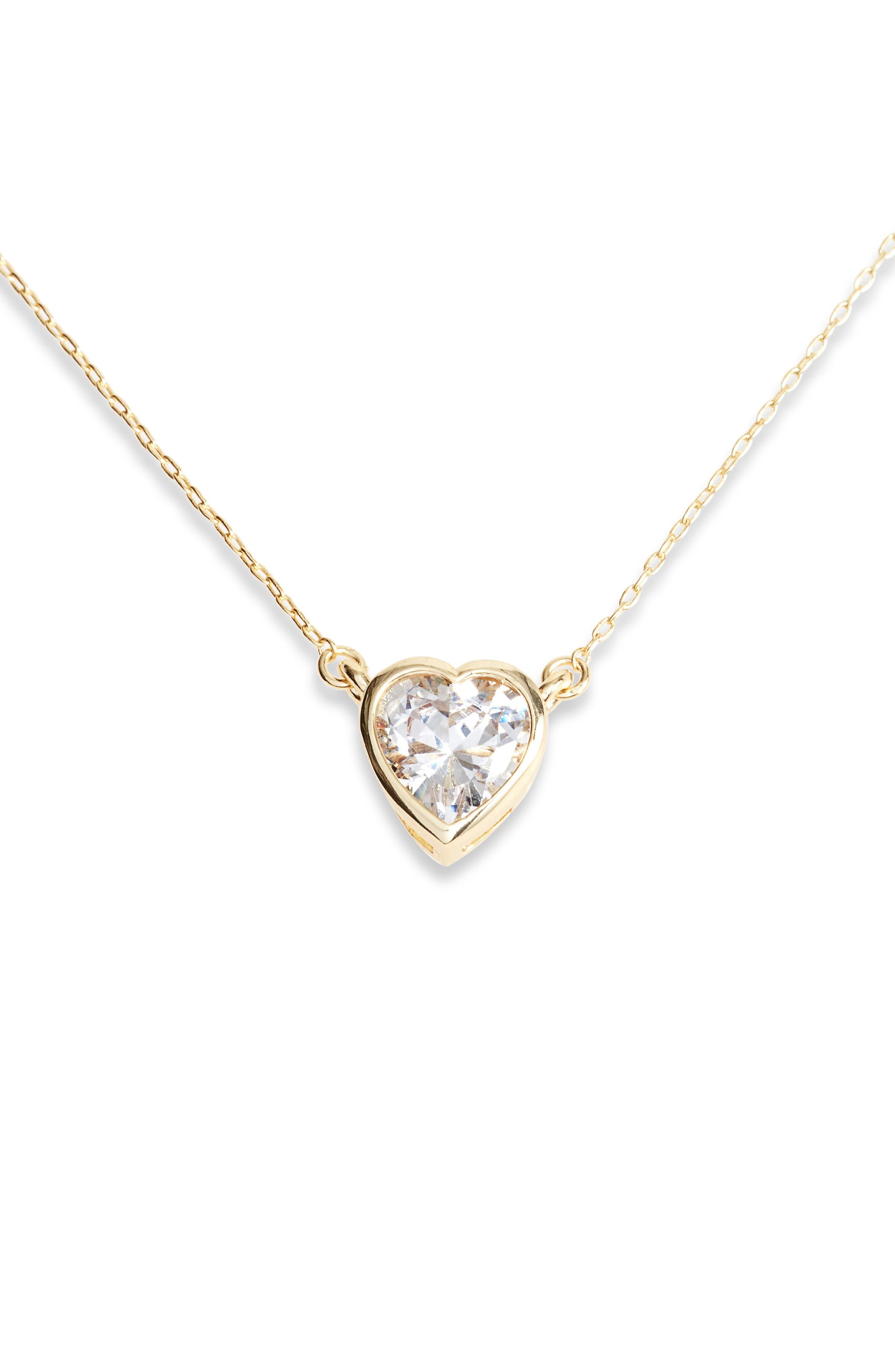 MELINDA MARIA Heart Pendant Necklace in Clear/ Gold