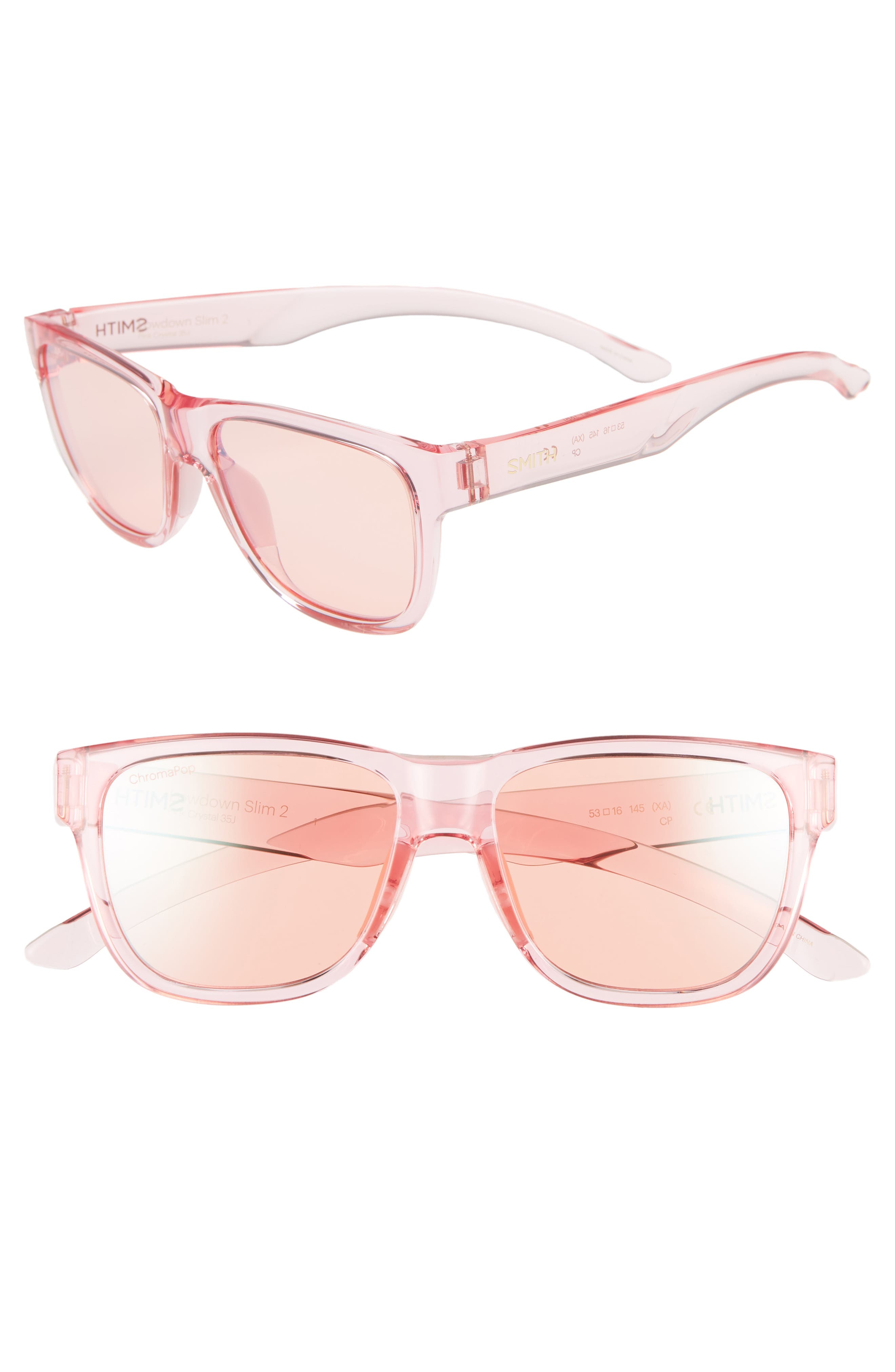 Lowdown Slim 2 53mm ChromaPop<sup>™</sup> Square Sunglasses,                             Main thumbnail 1, color,                             PINK CRYSTAL