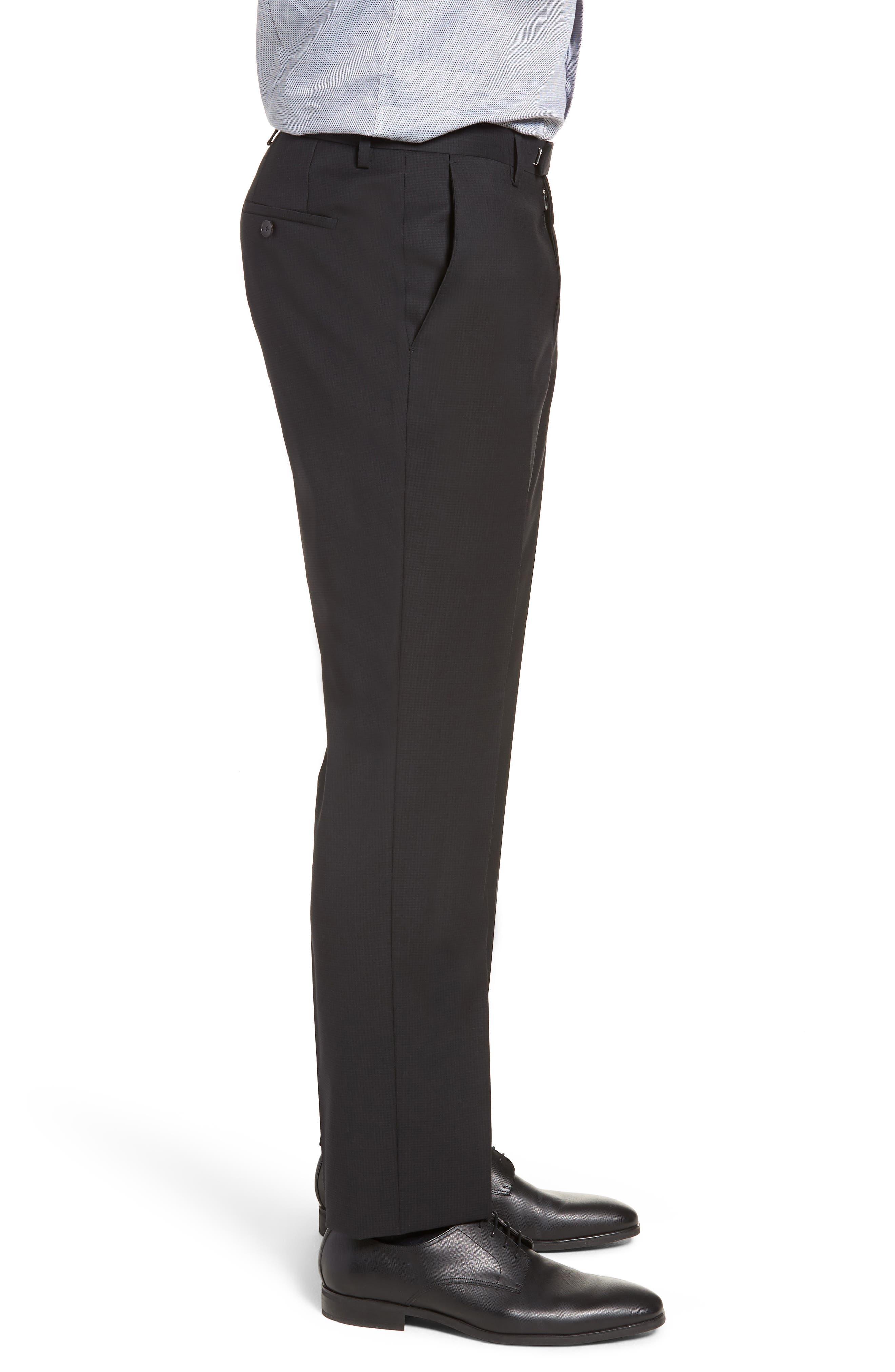 Leenon Flat Front Check Wool Trousers,                             Alternate thumbnail 3, color,                             BLACK