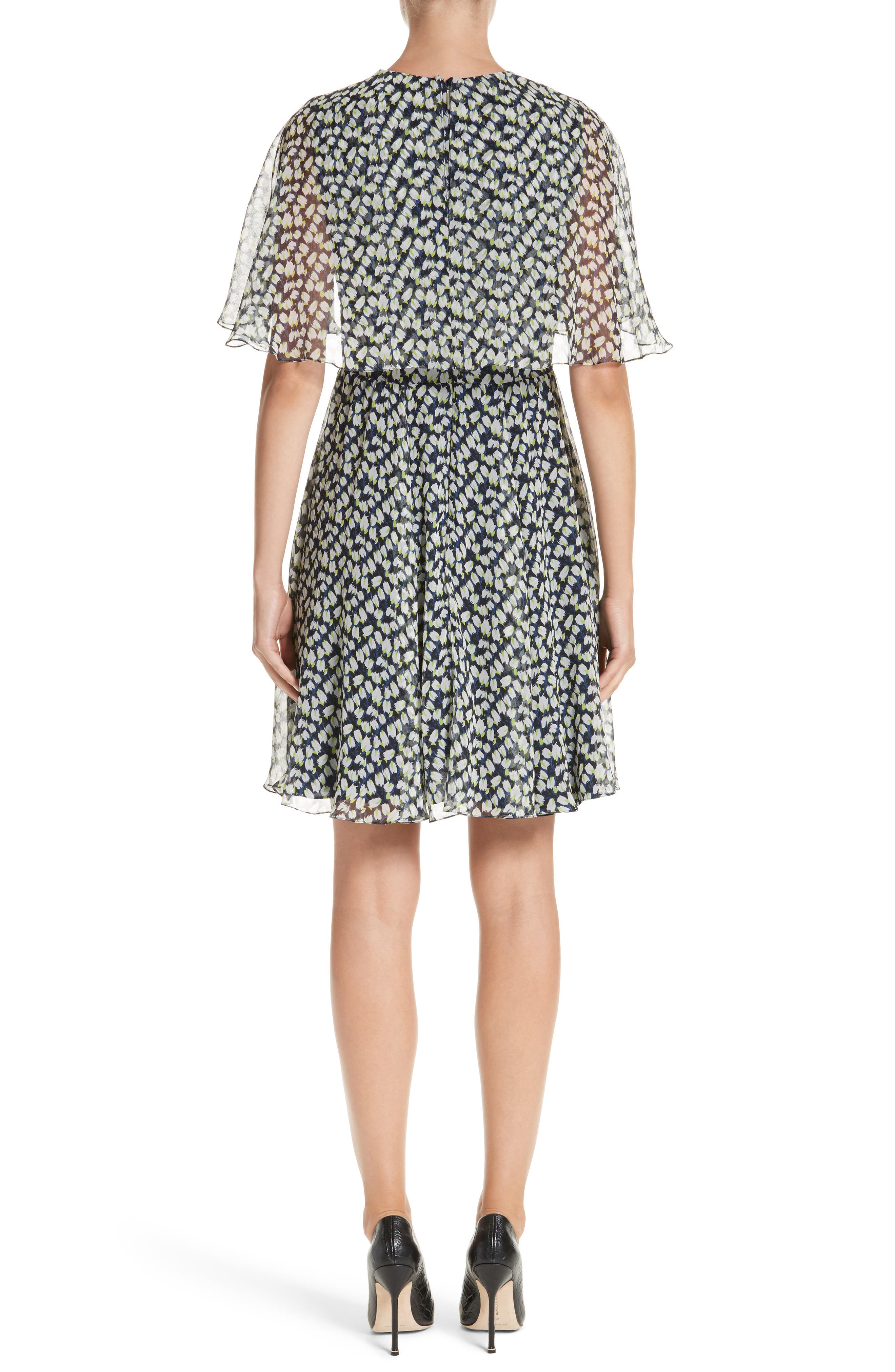 Print Silk Chiffon Day Dress,                             Alternate thumbnail 2, color,