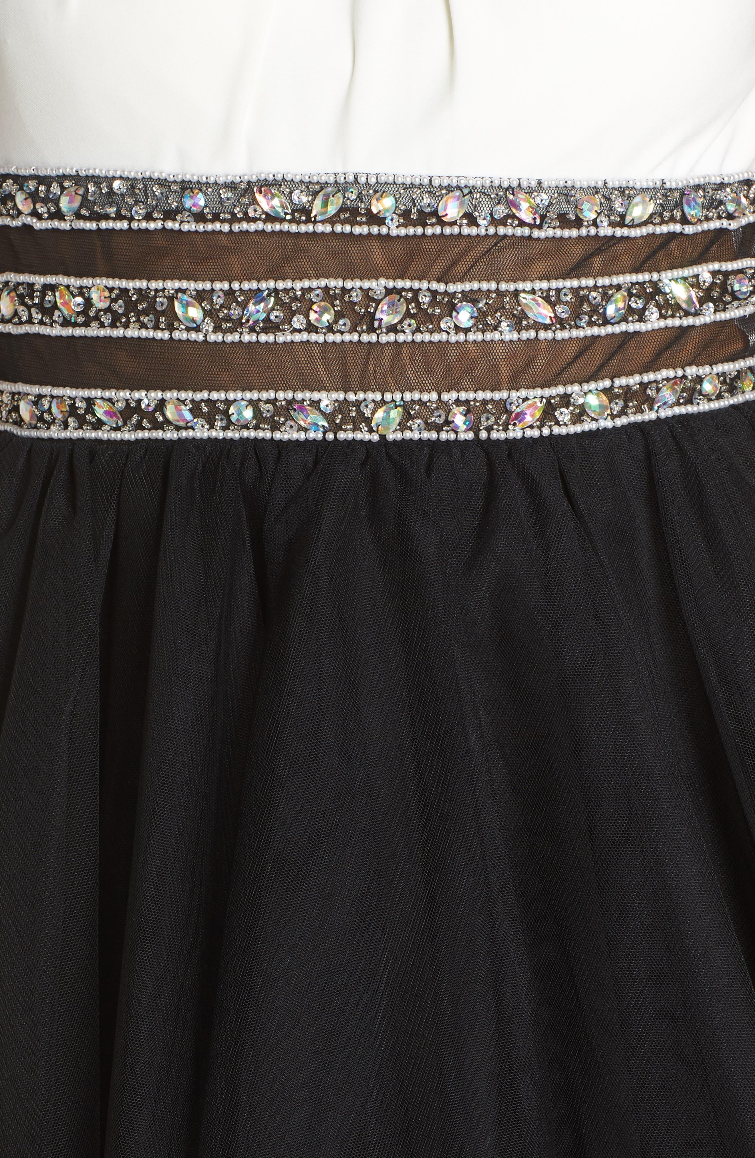 Embellished Colorblock Skater Dress,                             Alternate thumbnail 5, color,                             WHITE/ BLACK