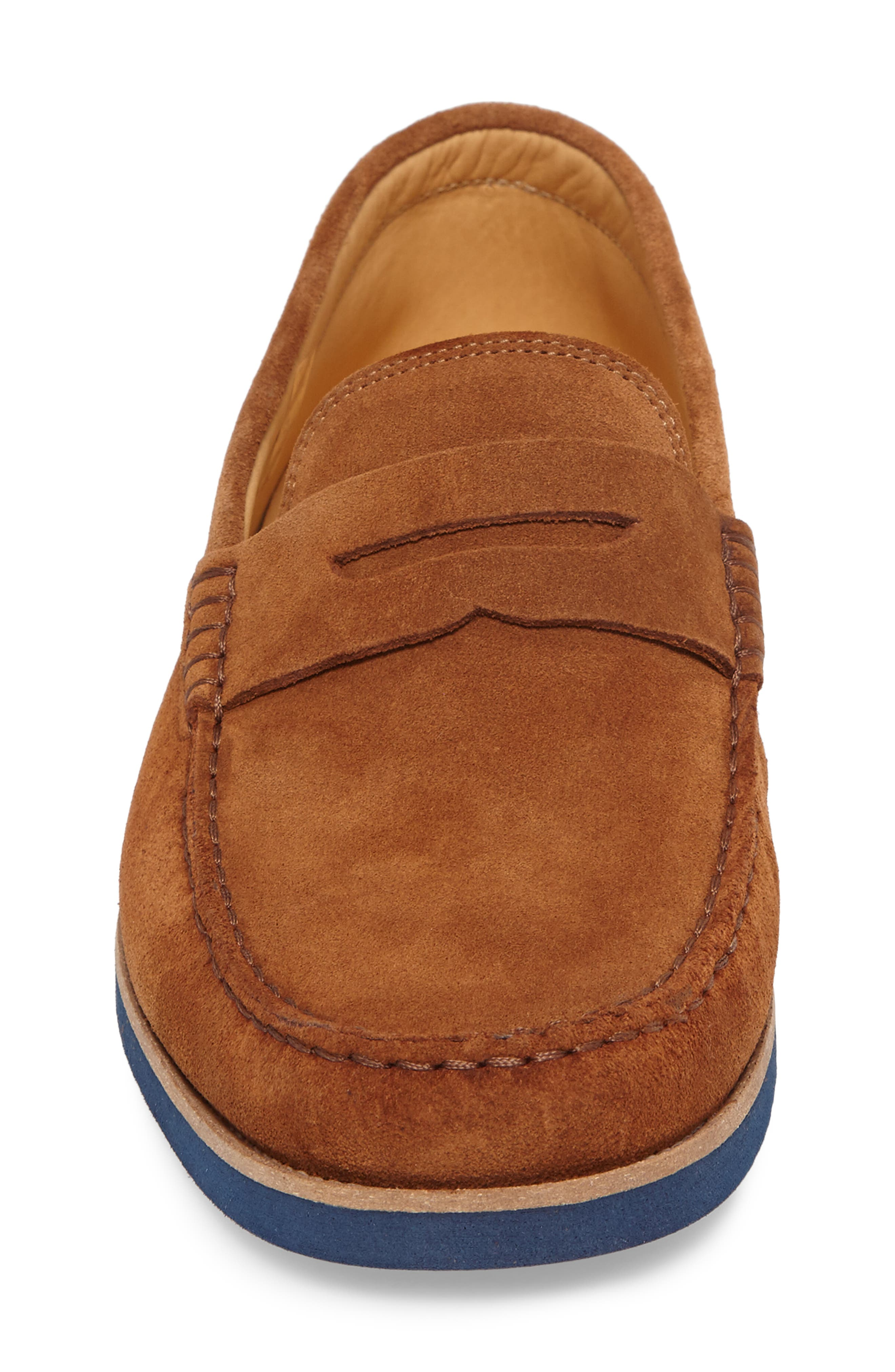 Kennedy Penny Loafer,                             Alternate thumbnail 4, color,                             MEDIUM BROWN SUEDE