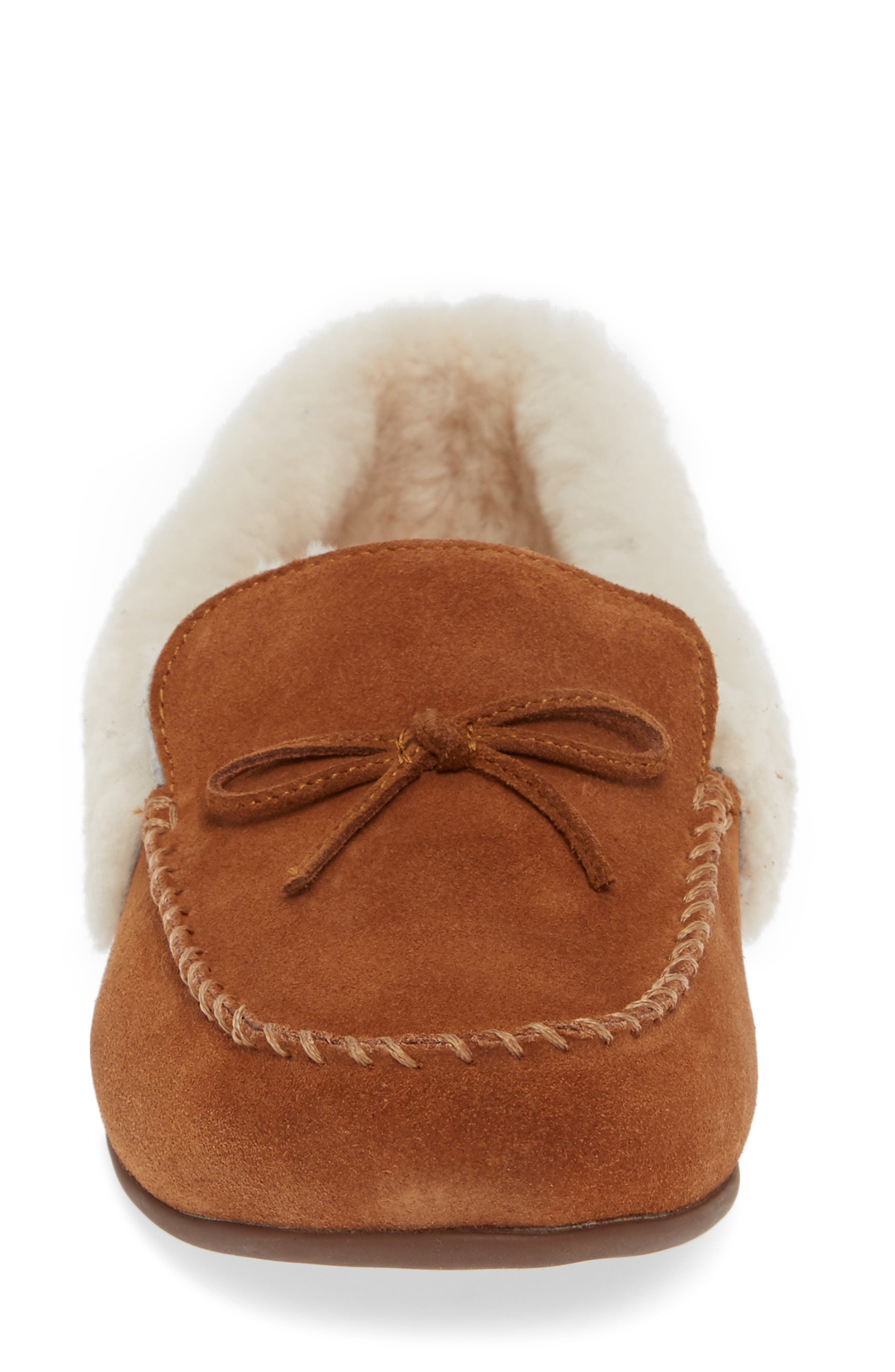 Clara Genuine Shearling Lined Moccasin,                             Alternate thumbnail 4, color,                             TUMBLED TAN SUEDE