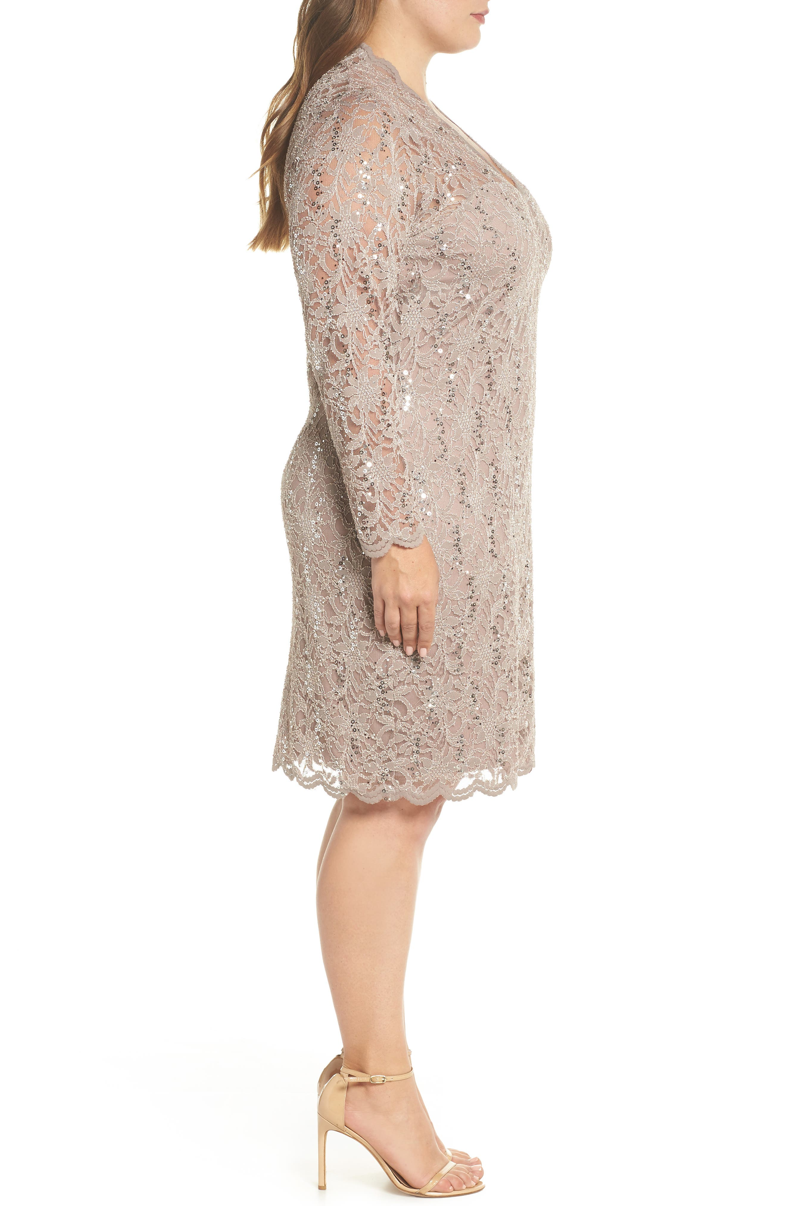 Sequin Stretch Lace Sheath Dress,                             Alternate thumbnail 3, color,                             TAUPE