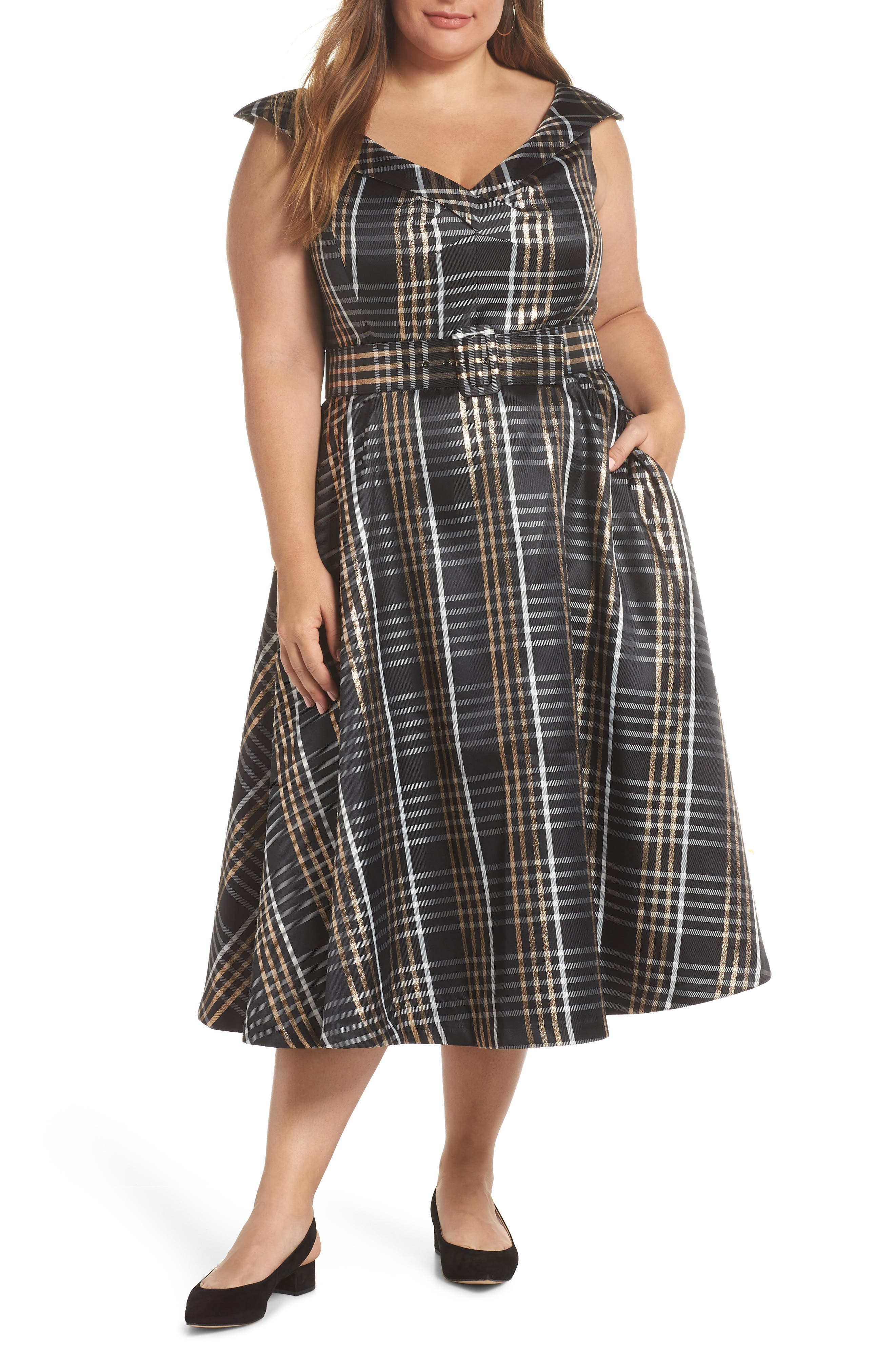 Belted Plaid Midi Dress,                         Main,                         color, GOLD PLAID
