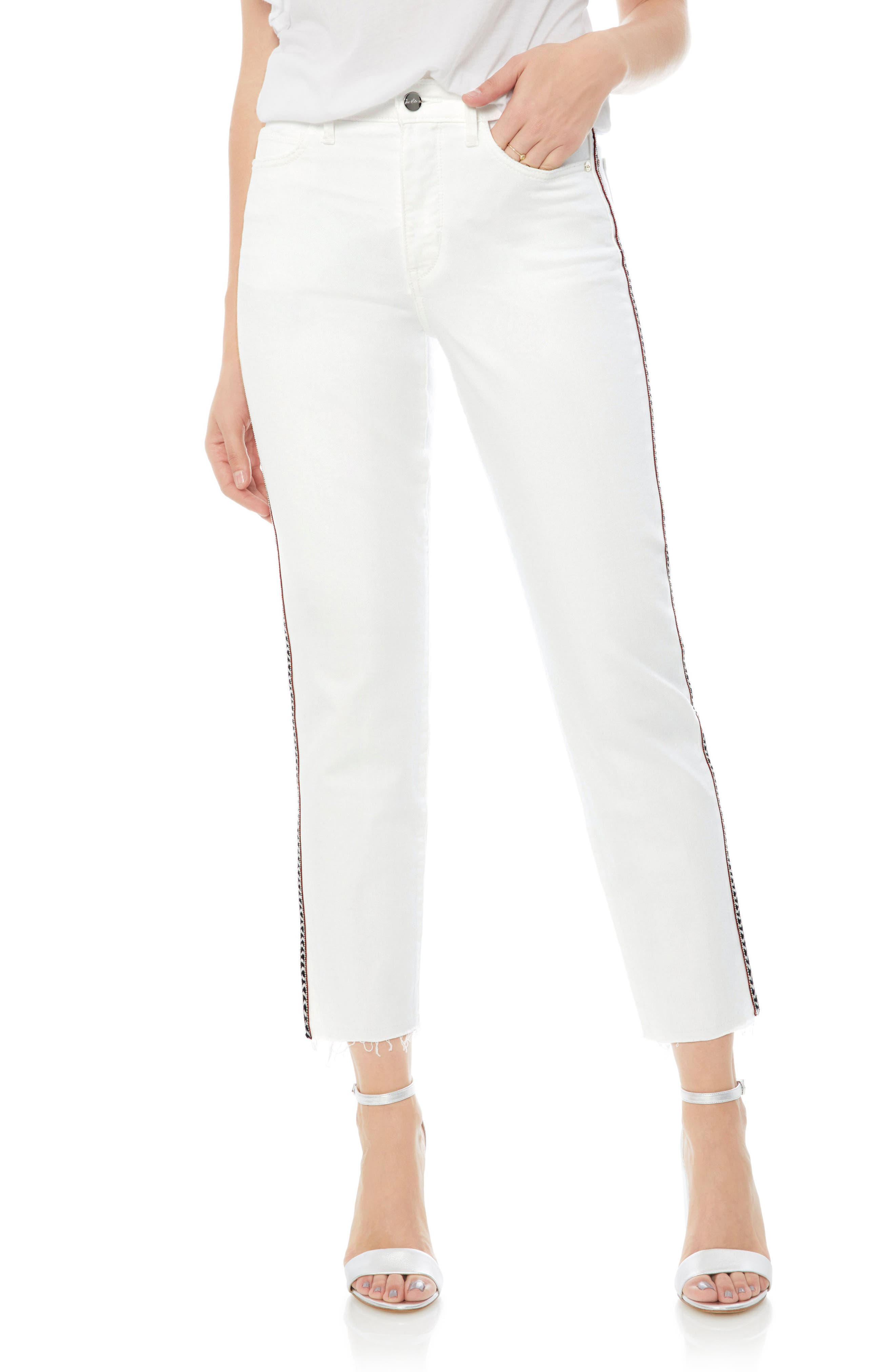 Mary Jane Embroidered Raw Edge Crop Jeans,                             Main thumbnail 1, color,                             100
