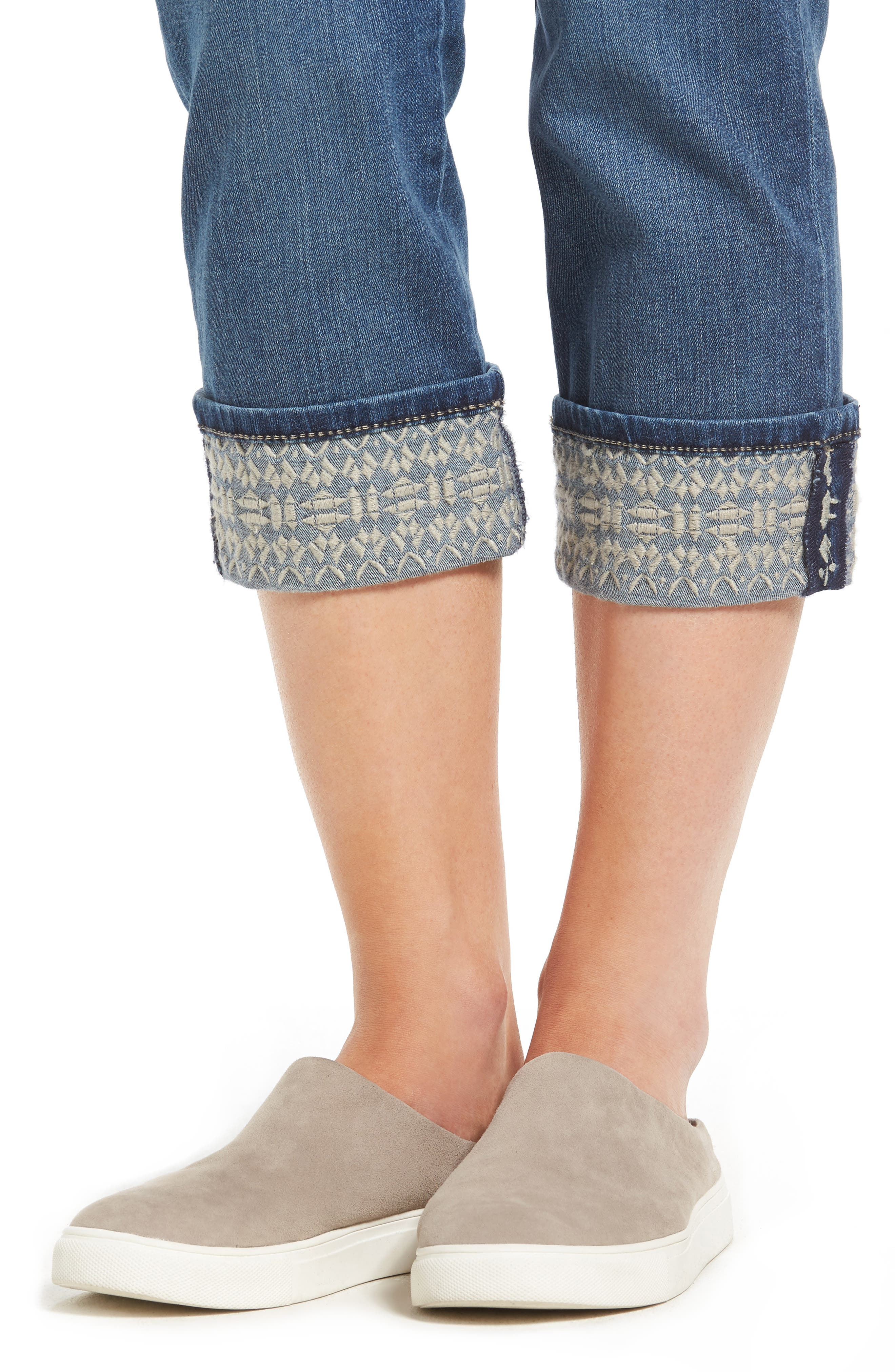 Dayla Embroidered Wide Cuff Capri Jeans,                             Alternate thumbnail 4, color,                             421