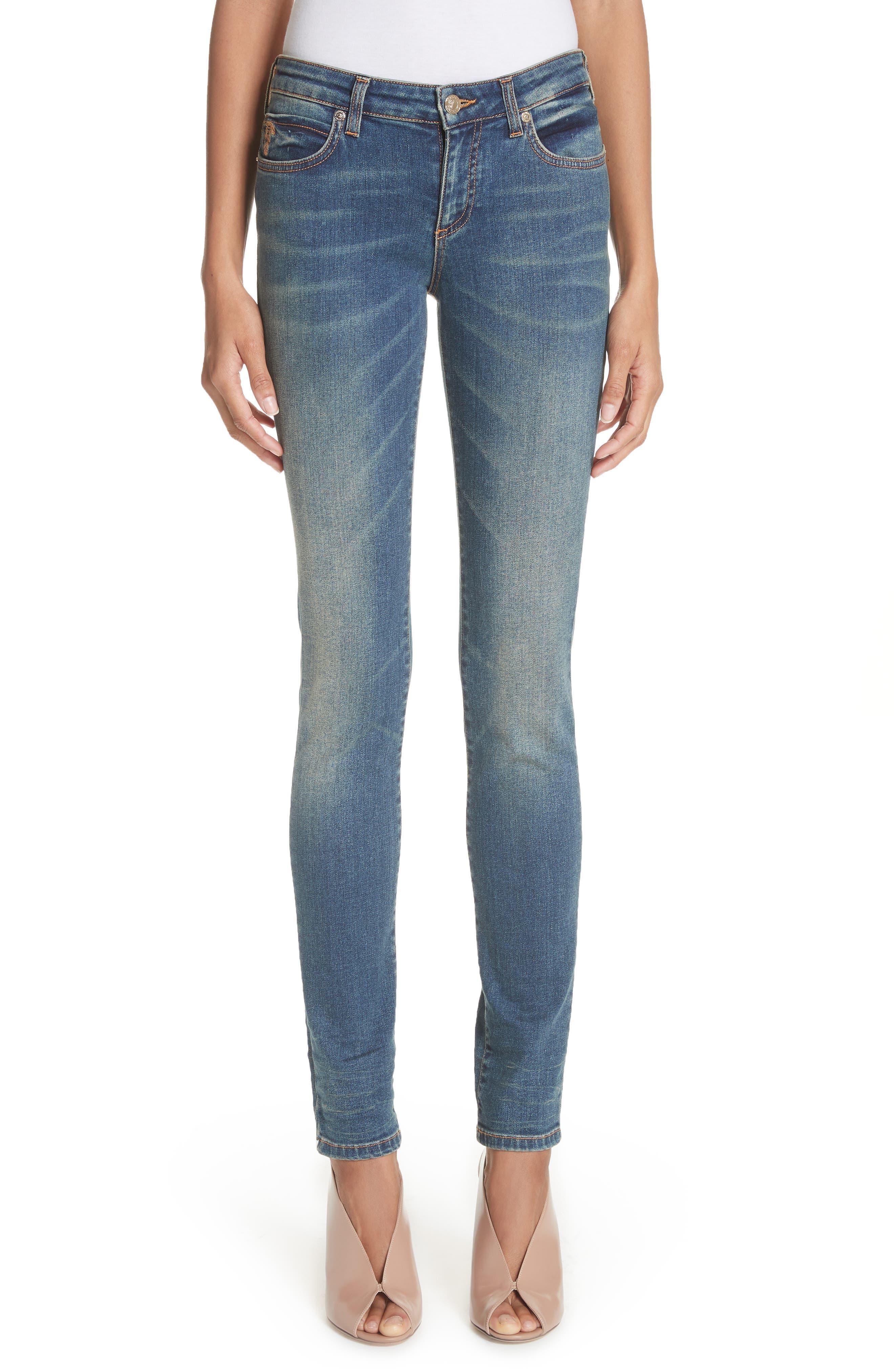 Studded Pocket Skinny Jeans,                             Main thumbnail 1, color,