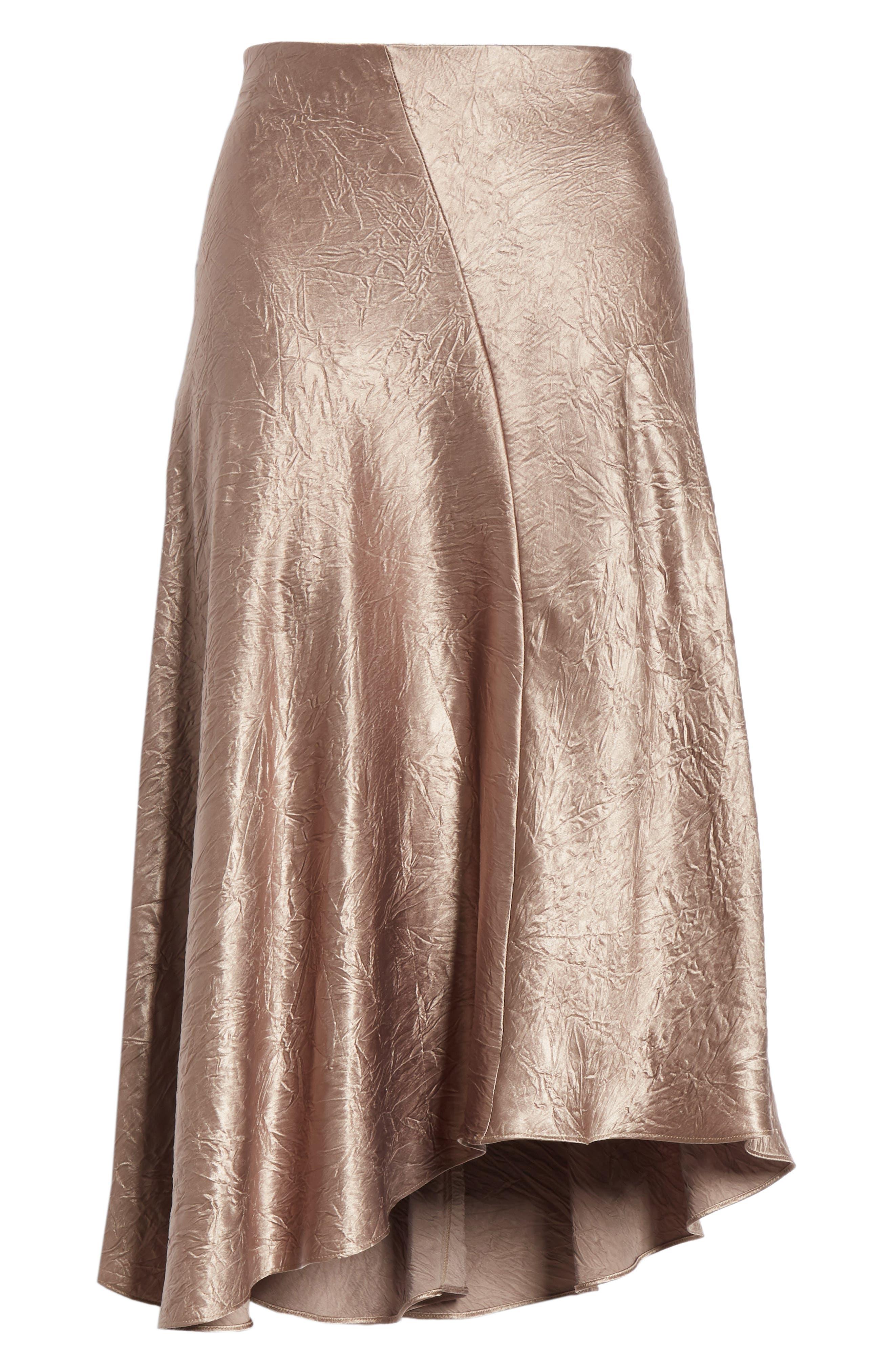 Asymmetrical Crinkled Satin Skirt,                             Alternate thumbnail 6, color,                             TAUPE