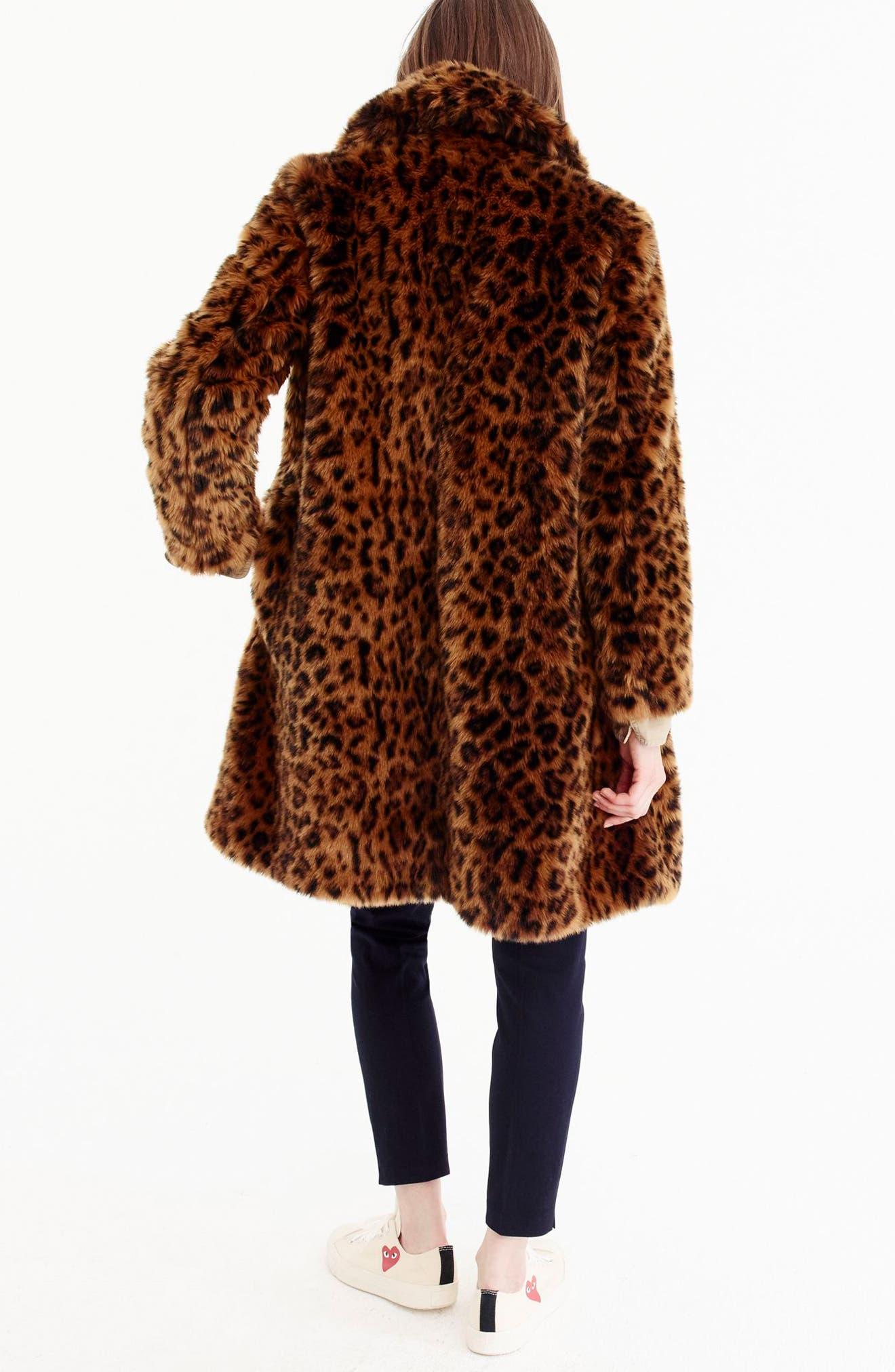 Leopard Print Faux Fur Coat,                             Alternate thumbnail 8, color,                             LEOPARD