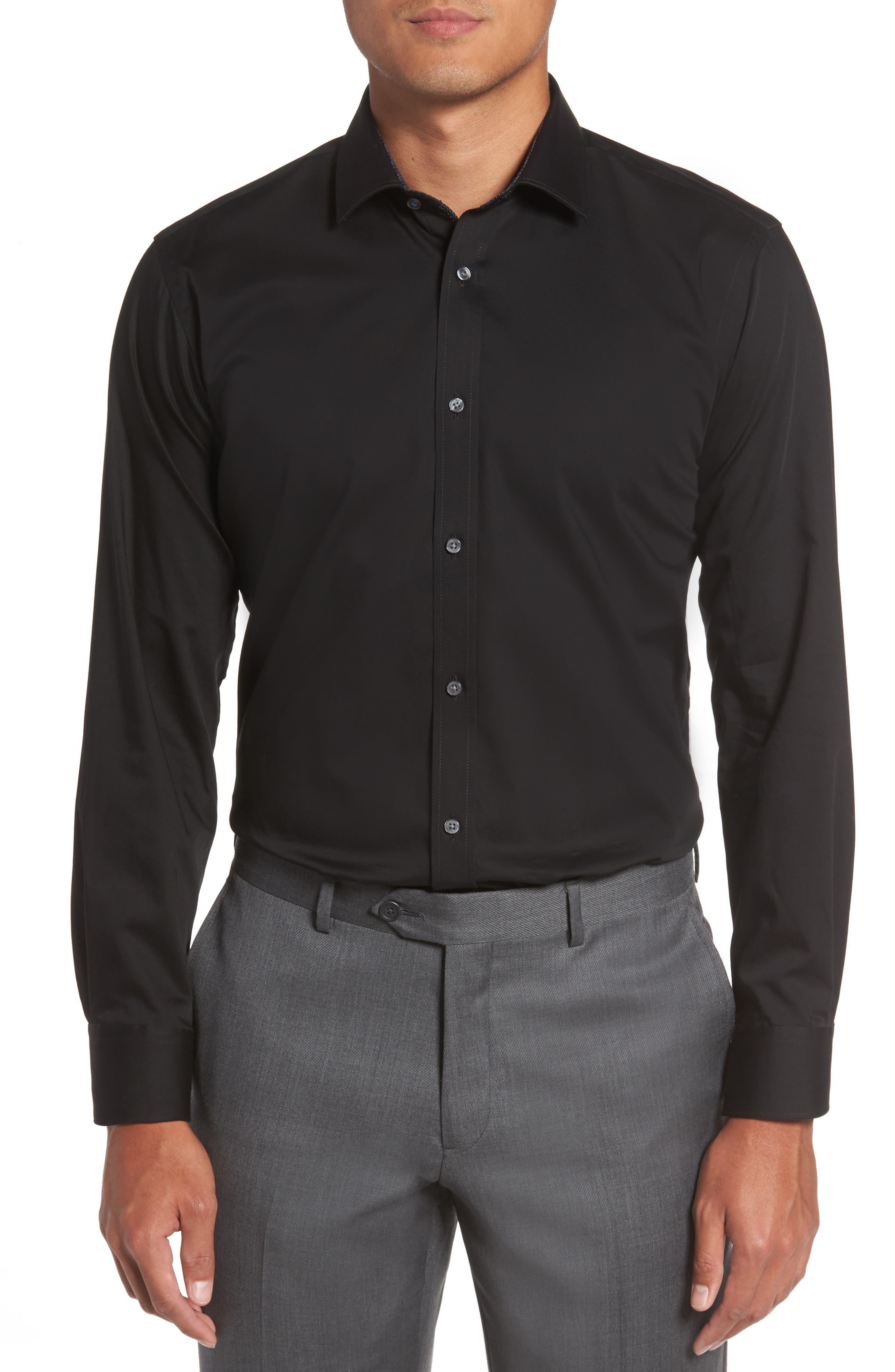 Caramor Trim Fit Solid Dress Shirt,                             Main thumbnail 1, color,                             BLACK