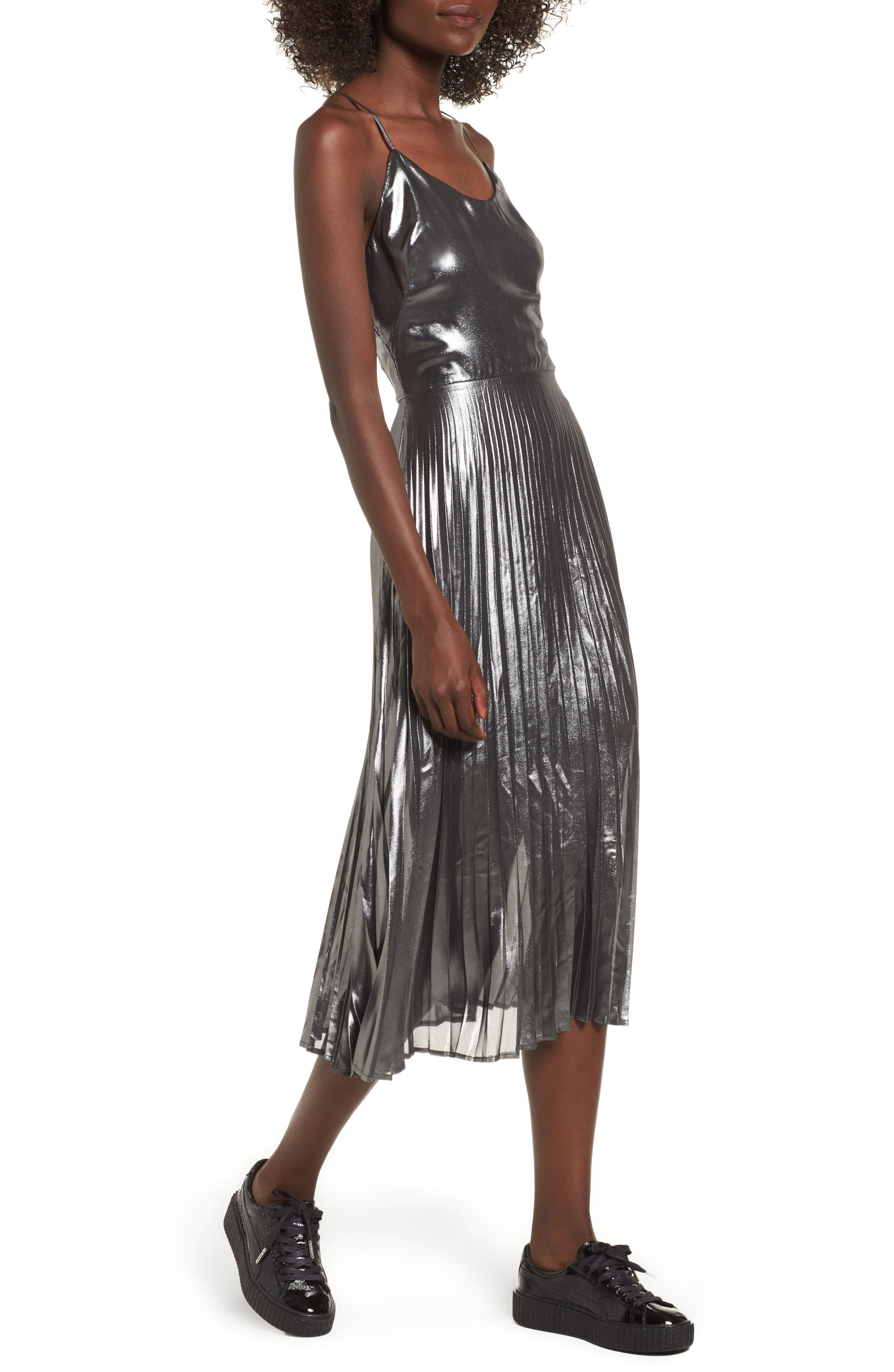 Metallic Pleated Midi Dress,                             Main thumbnail 1, color,                             001