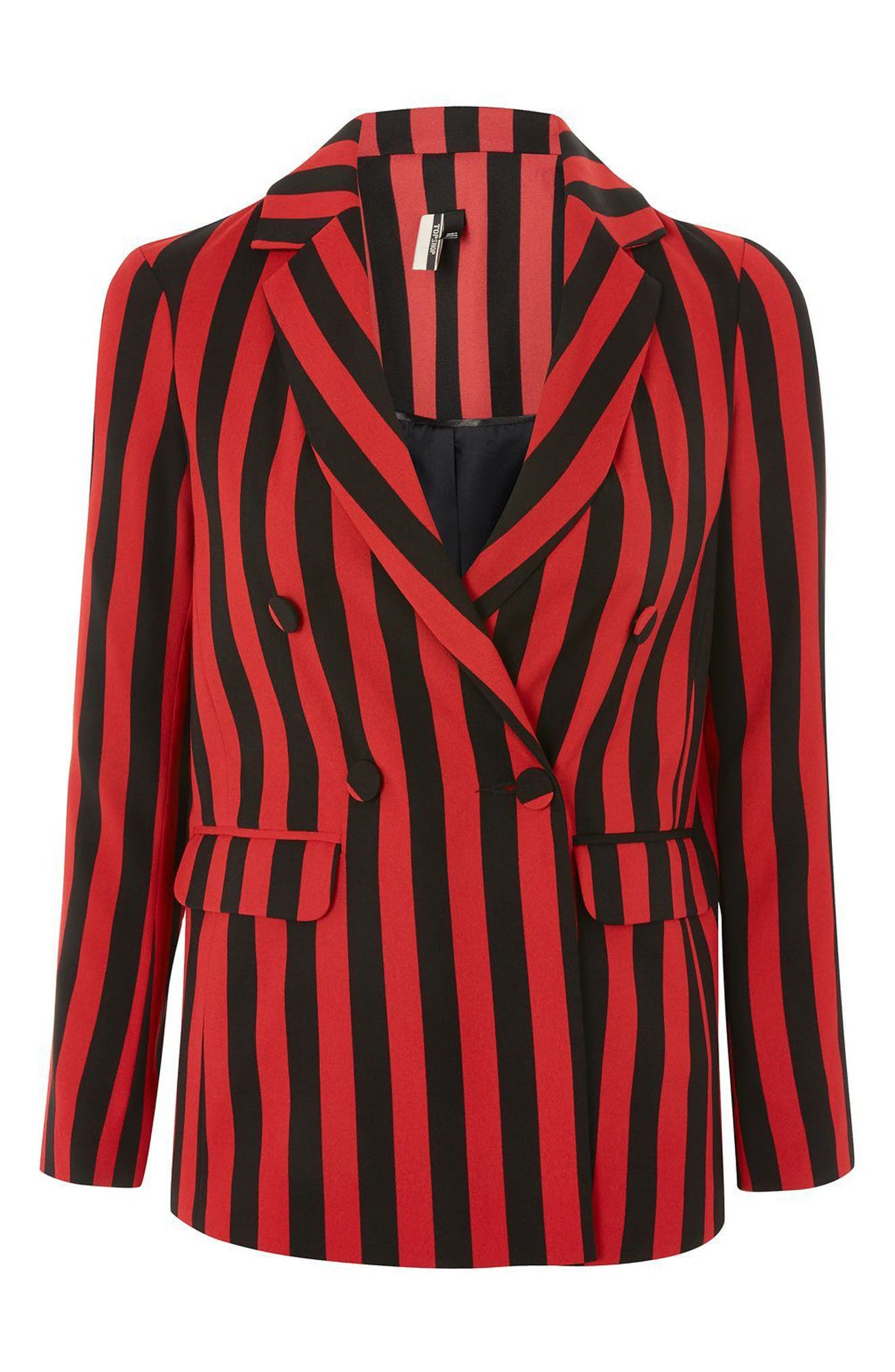 Humbug Stripe Double Breasted Blazer,                             Alternate thumbnail 4, color,                             601
