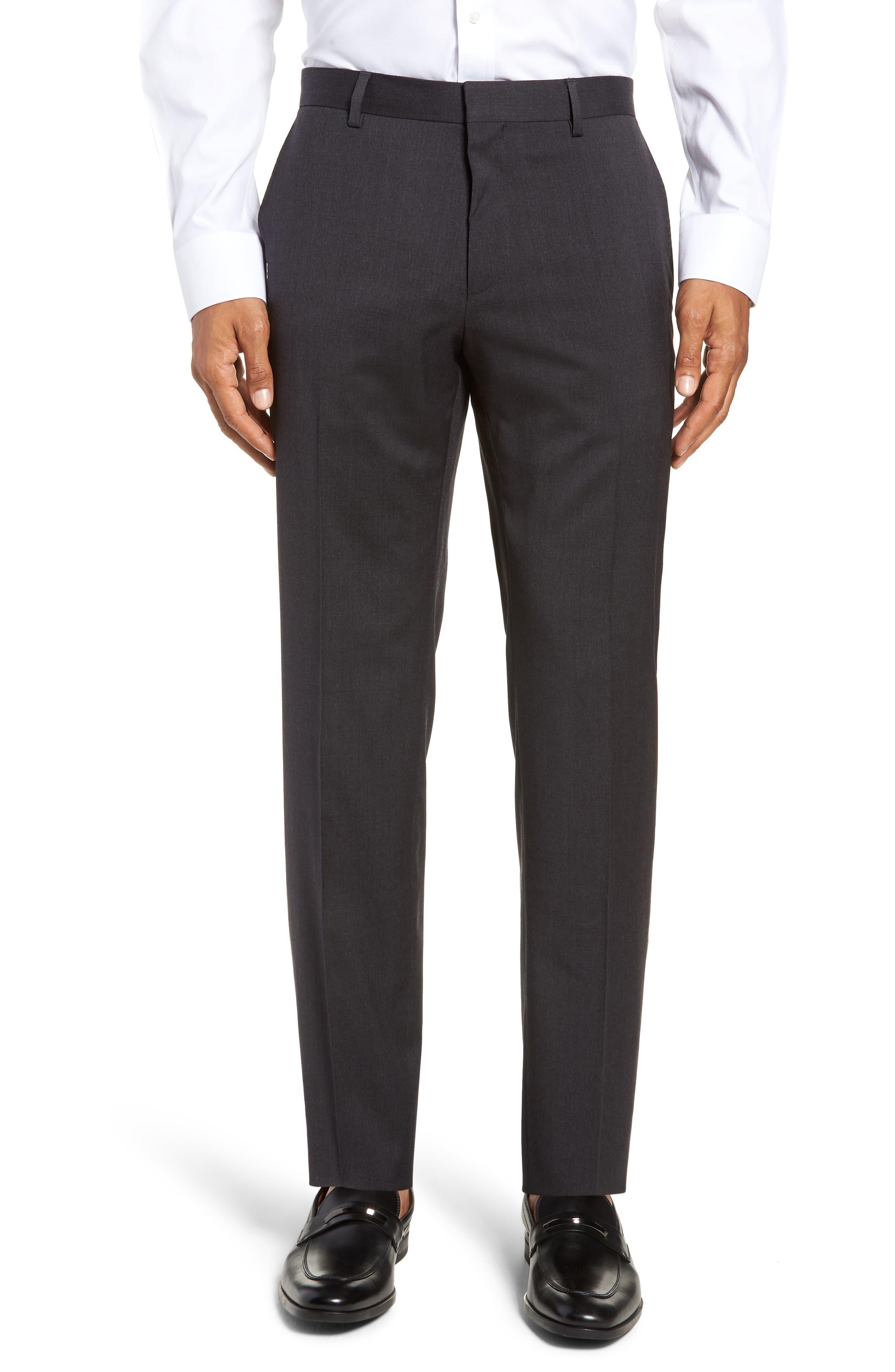 Huge/Genius Trim Fit Solid Wool Suit,                             Alternate thumbnail 6, color,                             DARK GREY