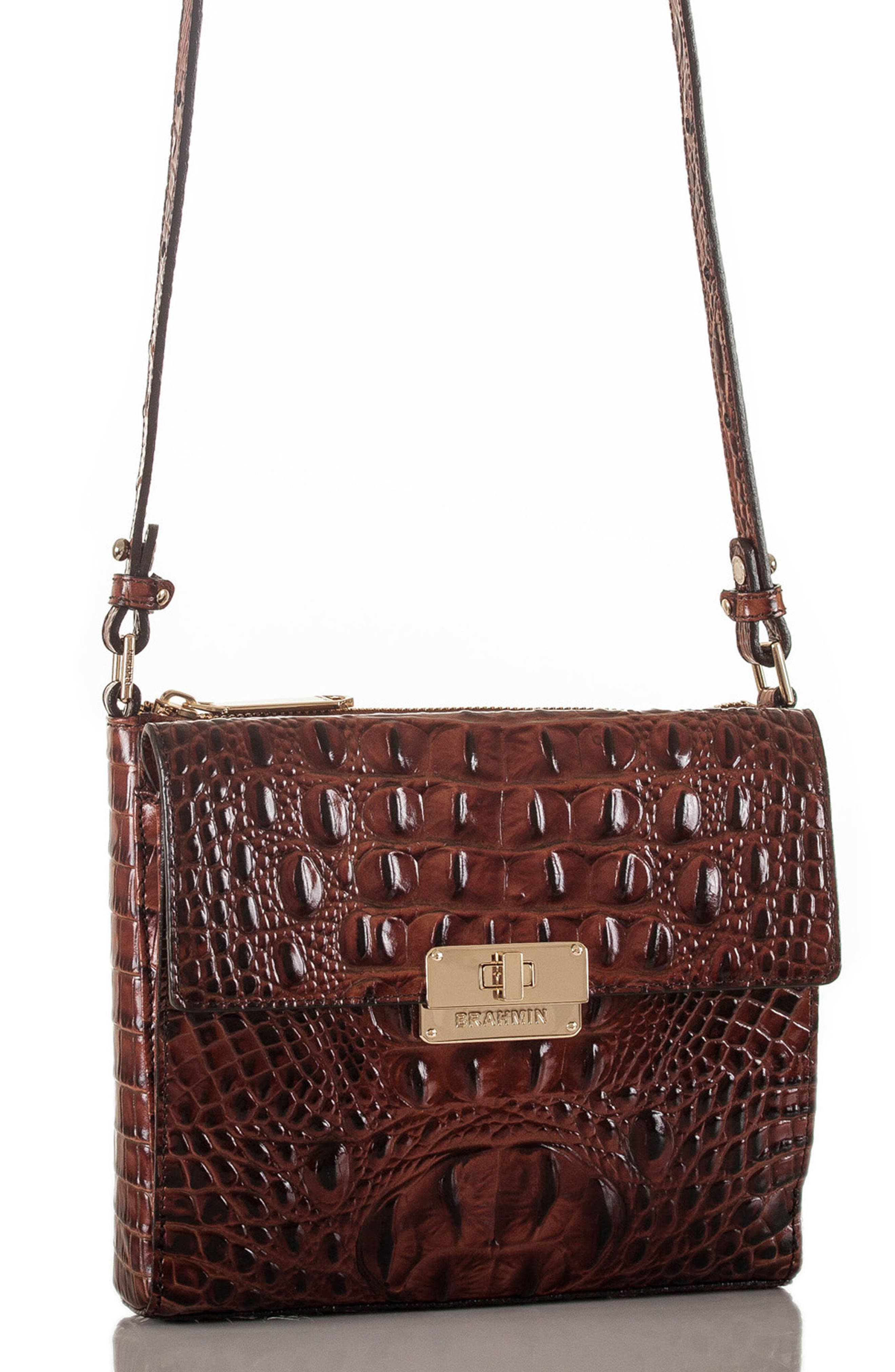 Melbourne Manhattan Croc Embossed Leather Crossbody Bag,                             Alternate thumbnail 9, color,                             PECAN