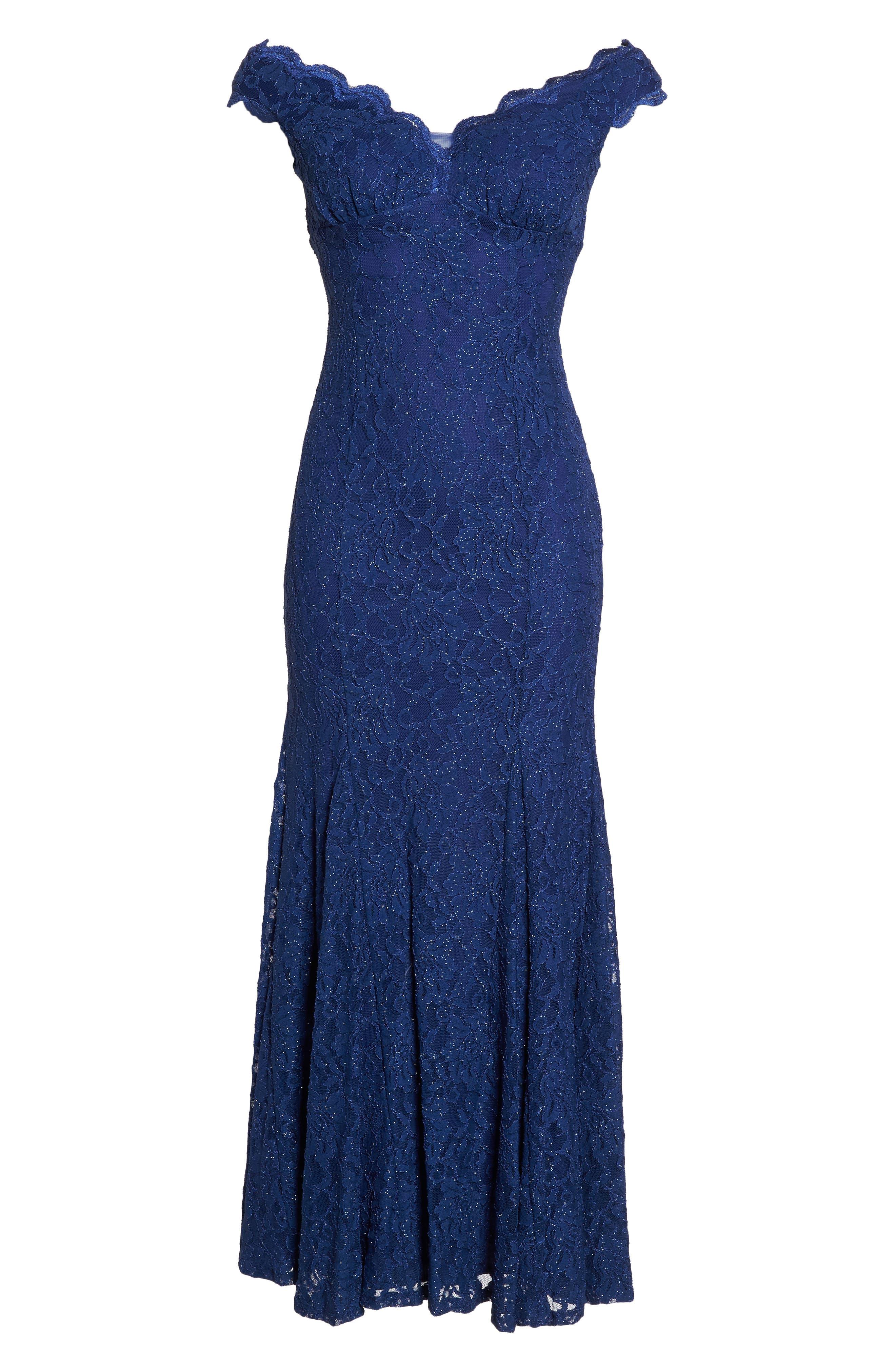 Scallop Off the Shoulder Lace Gown,                             Alternate thumbnail 6, color,                             553