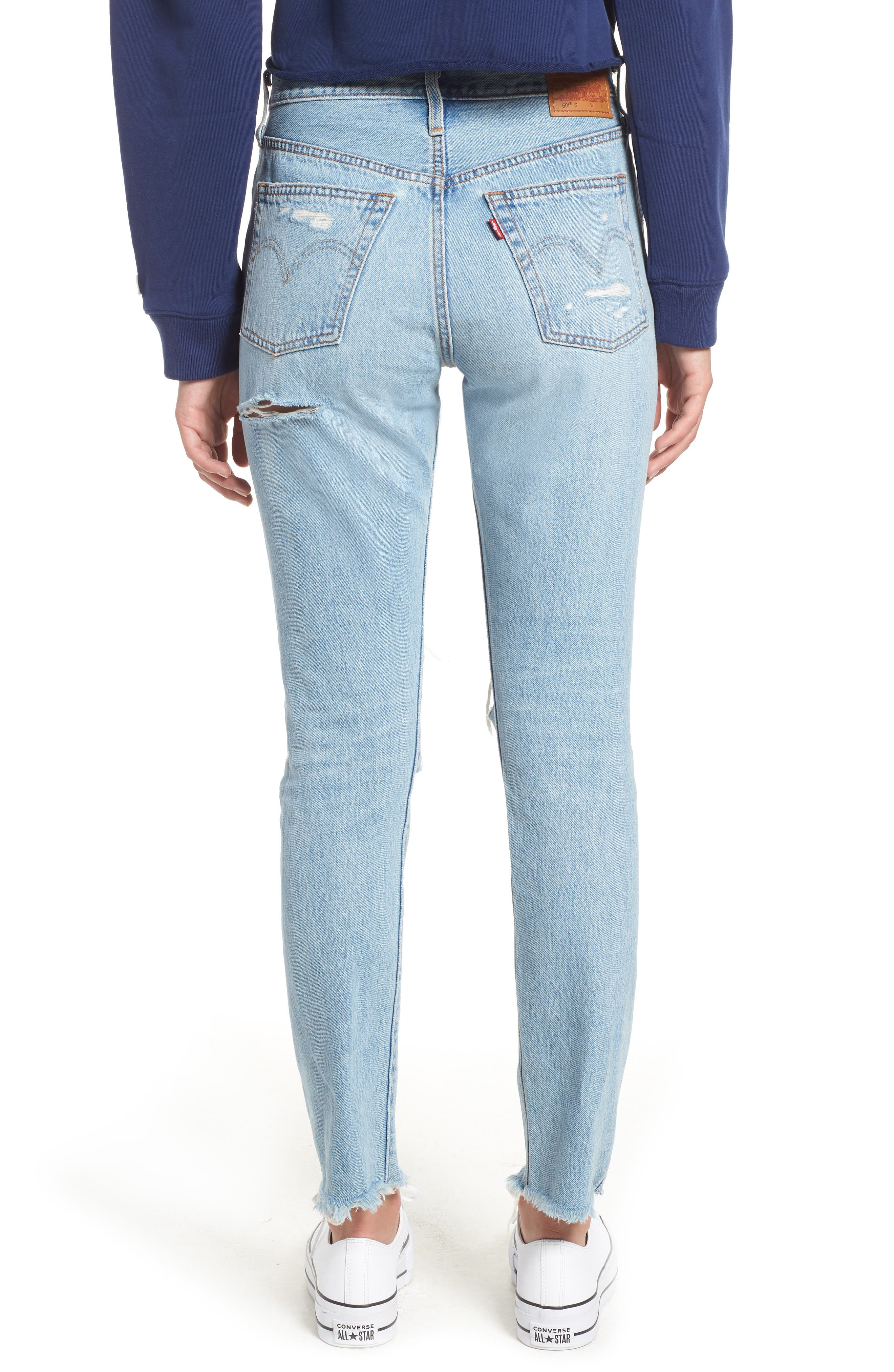 501<sup>®</sup> Ripped High Waist Skinny Jeans,                             Alternate thumbnail 2, color,                             THRASHED