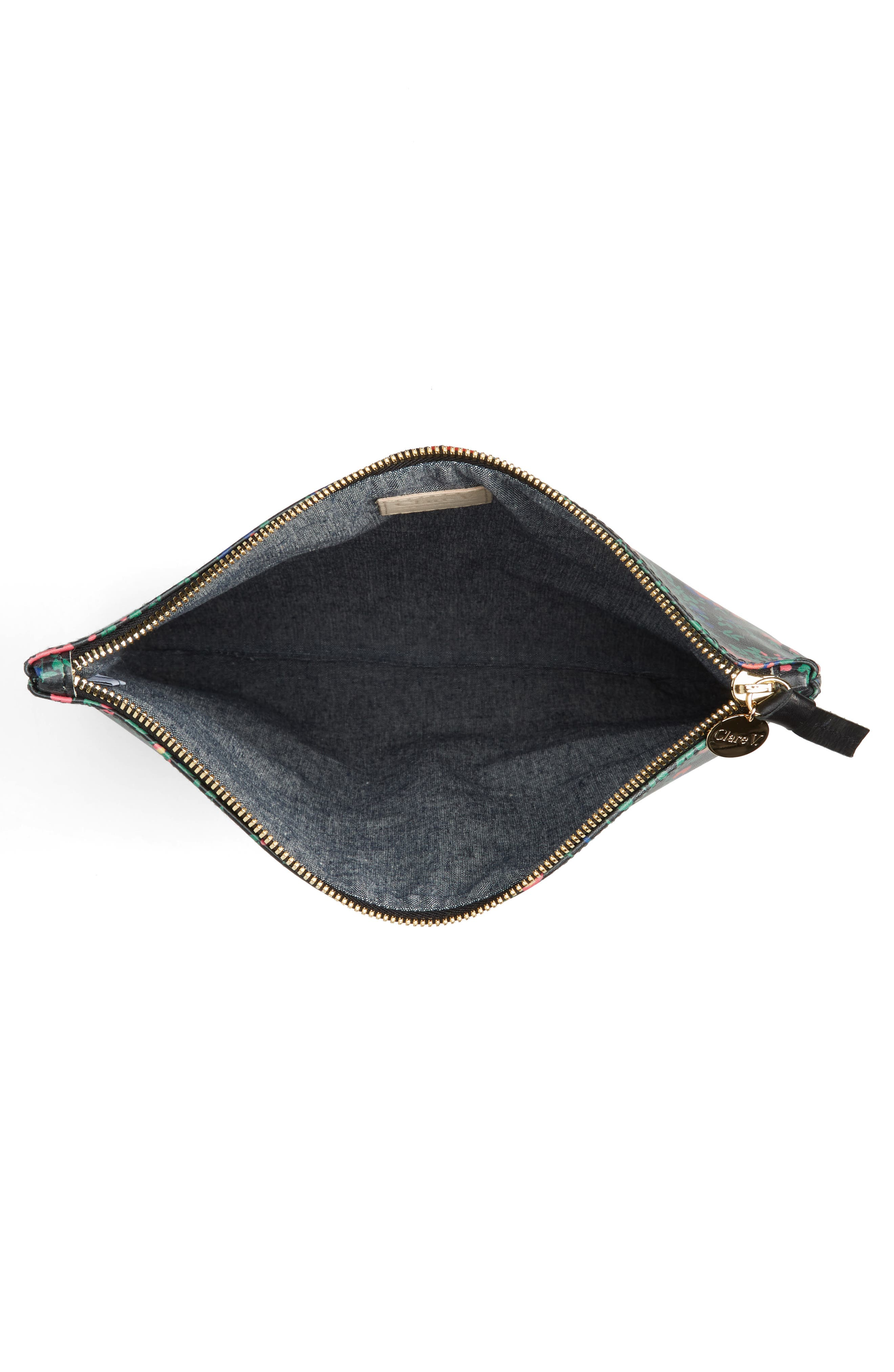Foldover Ditzy Floral Leather Clutch,                             Alternate thumbnail 4, color,                             BLACK