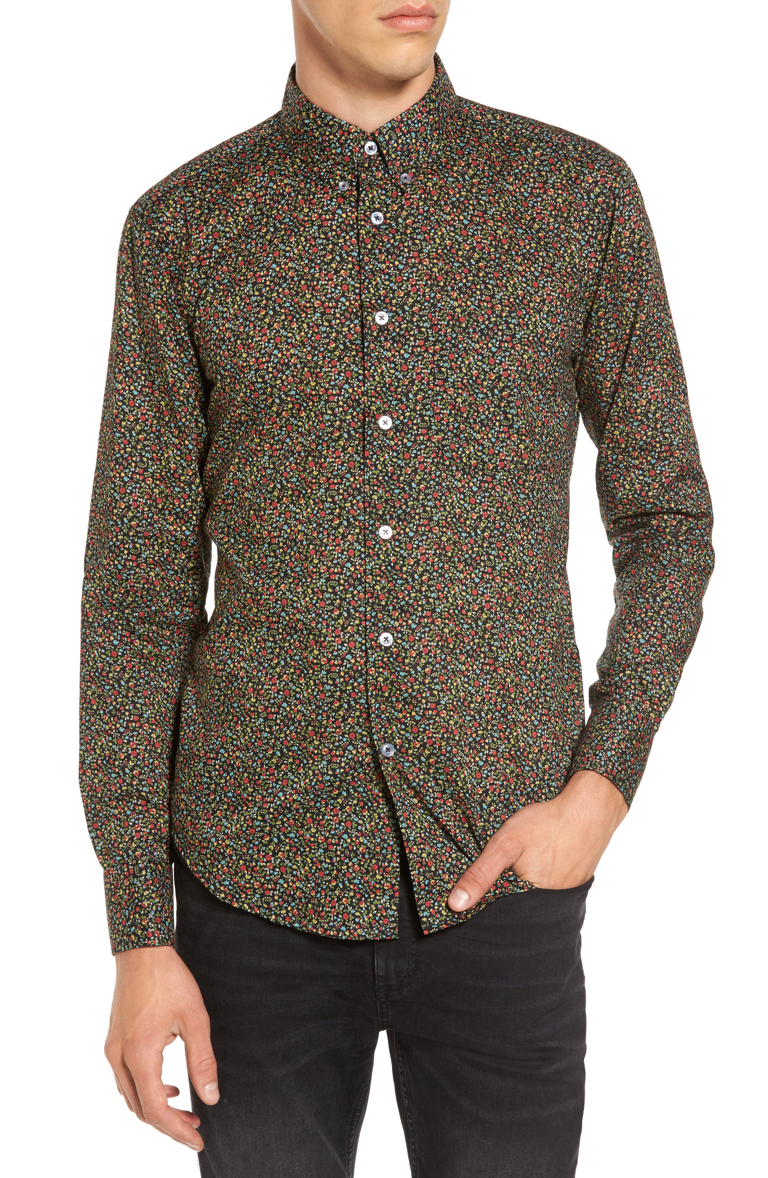 Naked & Famous Floral Shirt,                             Main thumbnail 1, color,