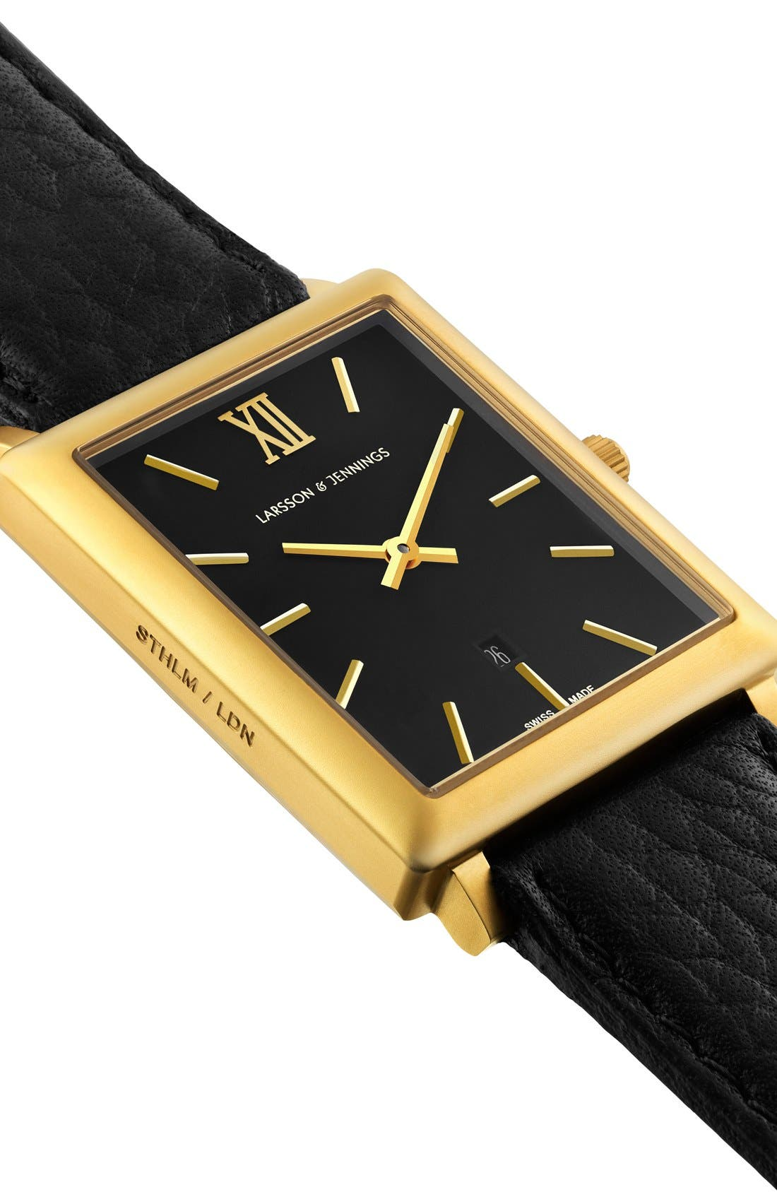 'Norse' Rectangular Leather Strap Watch, 29mm x 40mm,                             Alternate thumbnail 6, color,                             001