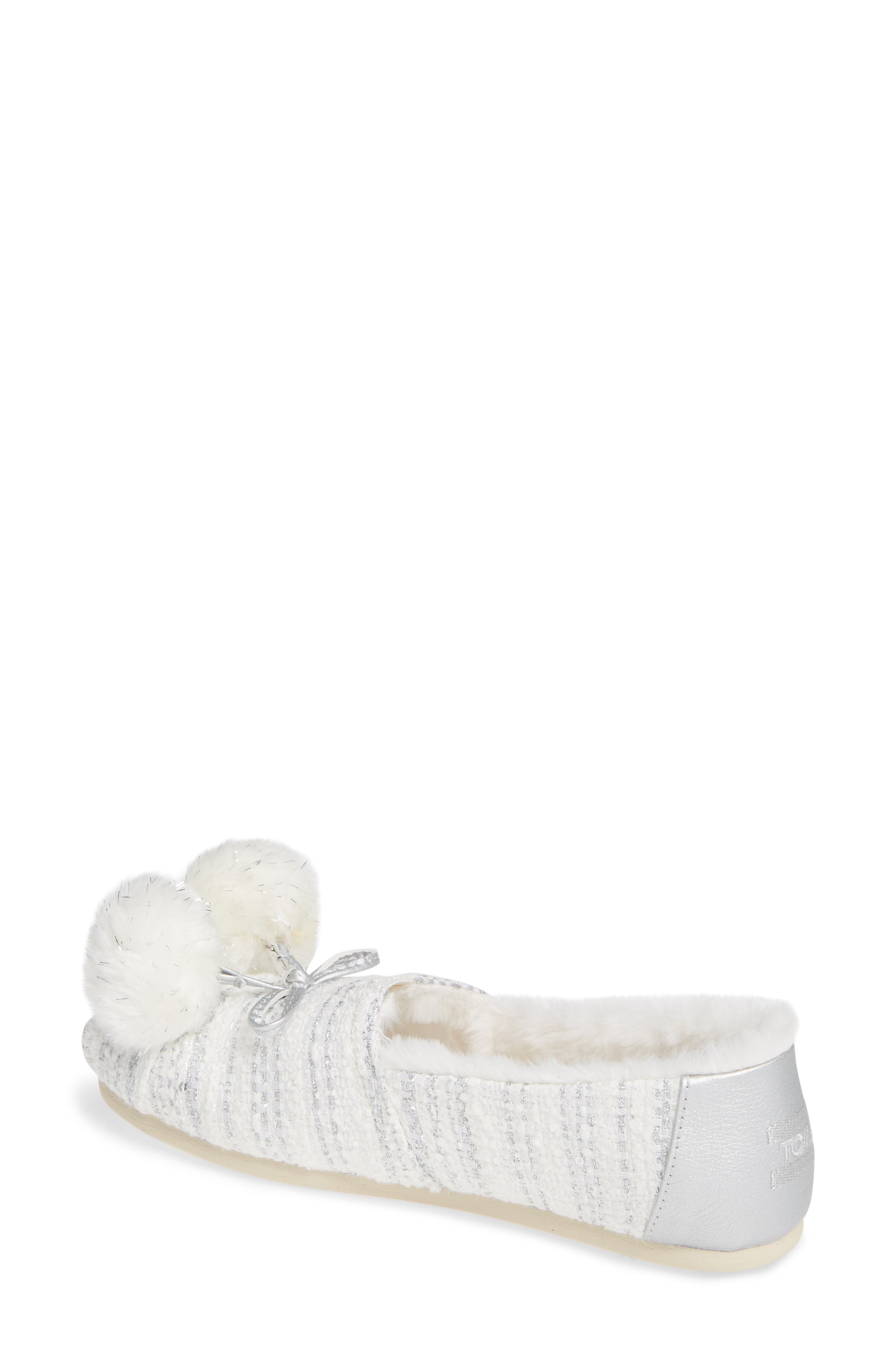 Alpargata Slip-On with Faux Fur Lining & Pompoms,                             Alternate thumbnail 2, color,                             SILVER FABRIC