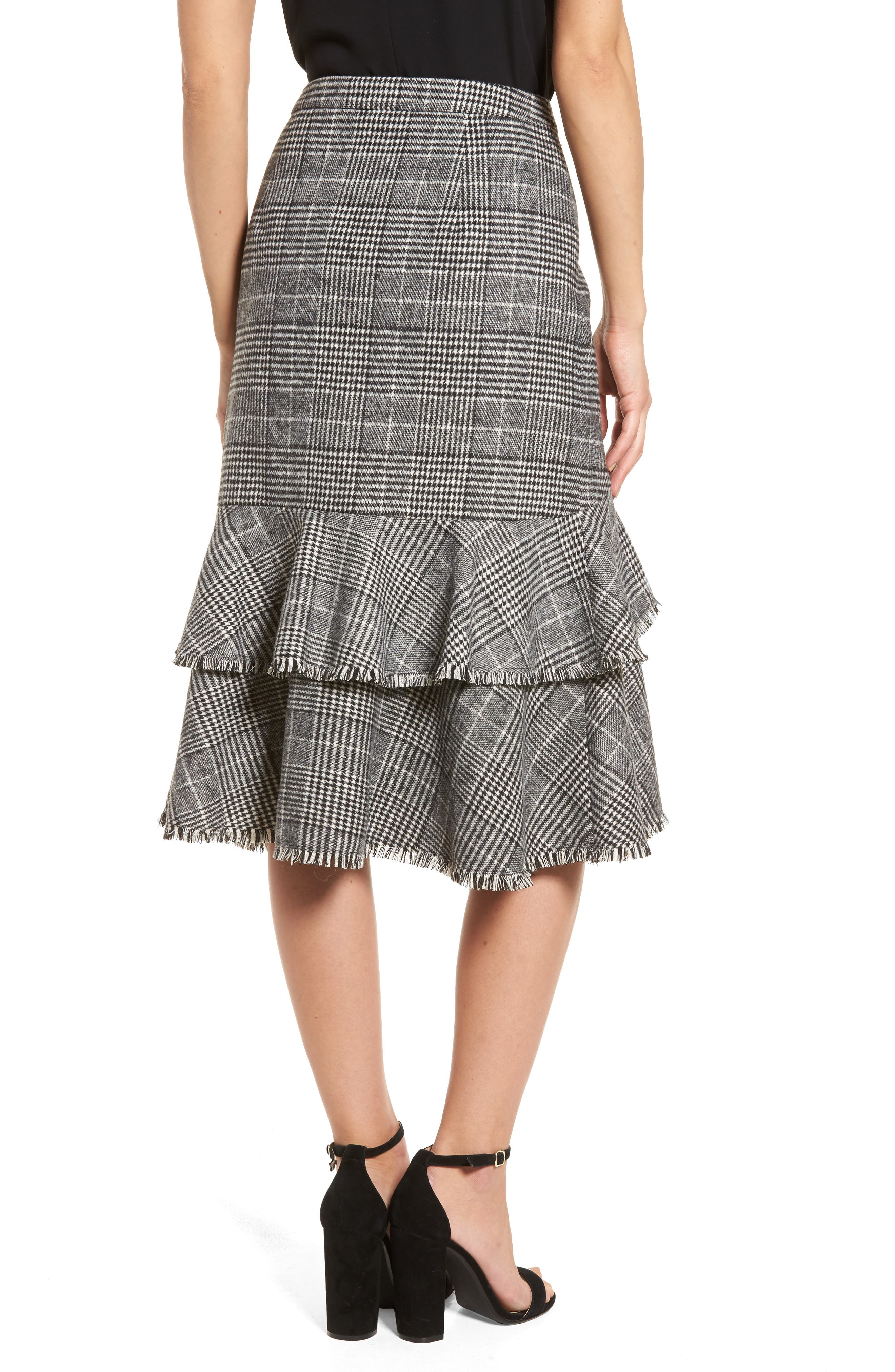 Ruffle Plaid Skirt,                             Alternate thumbnail 2, color,                             001