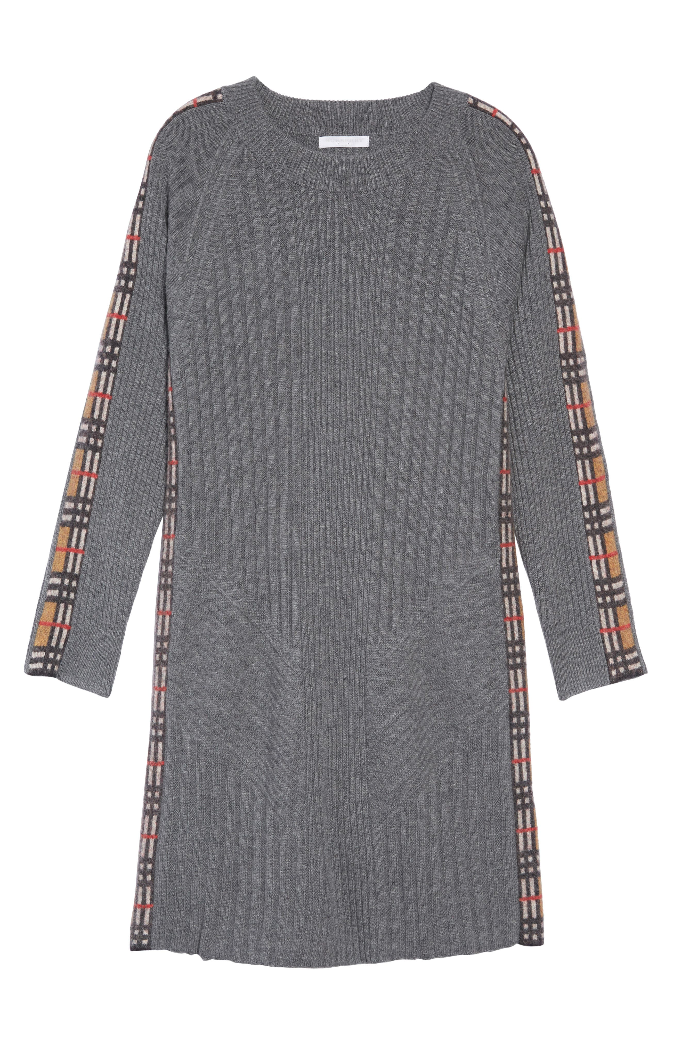 Kids Cathina Check Detail Wool & Cashmere Sweater Dress,                             Main thumbnail 1, color,                             MID GREY MELANGE