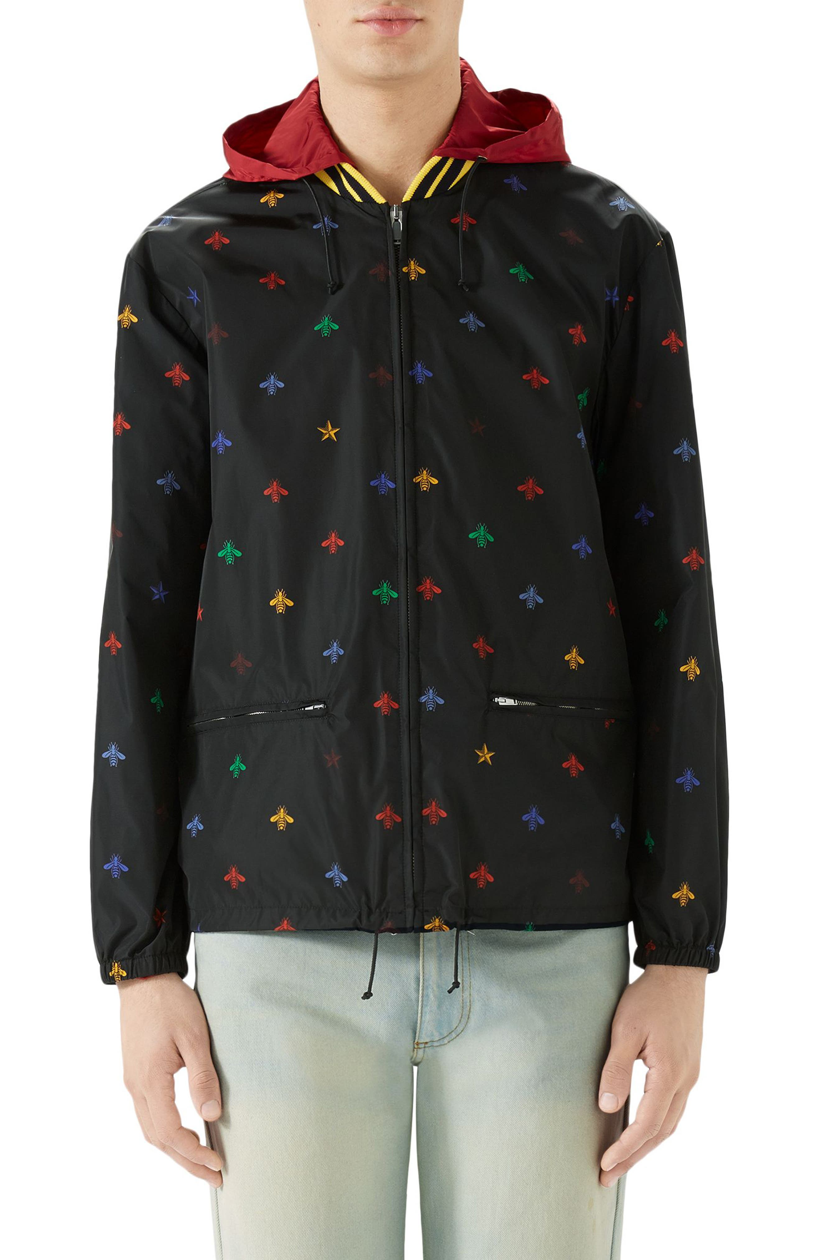 Bee Print Lightweight Jacket,                             Main thumbnail 1, color,                             BLACK