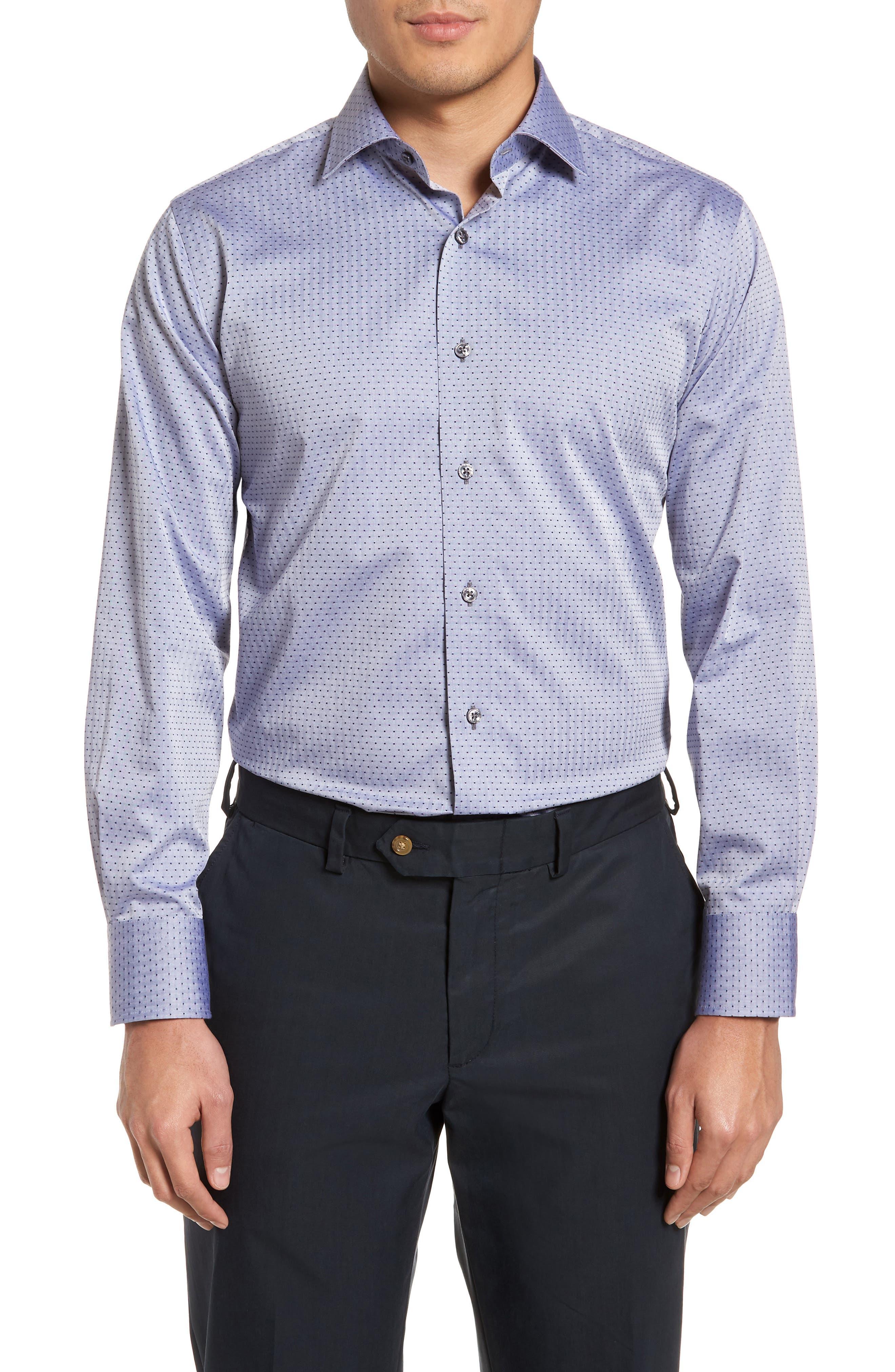 Pin Dot Dress Shirt,                         Main,                         color, NAVY/ GREY