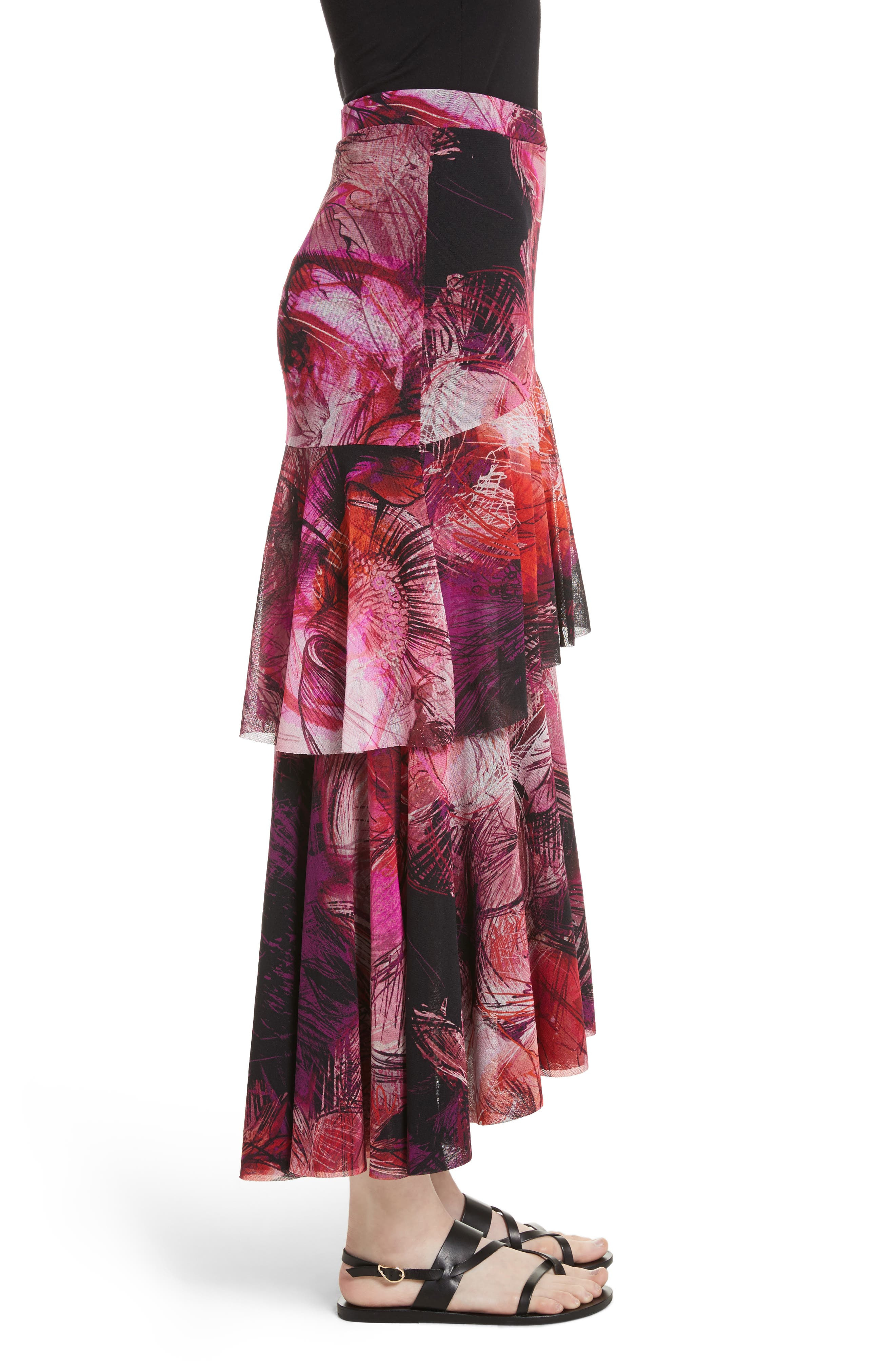Print Tulle Ruffle Skirt,                             Alternate thumbnail 3, color,                             650
