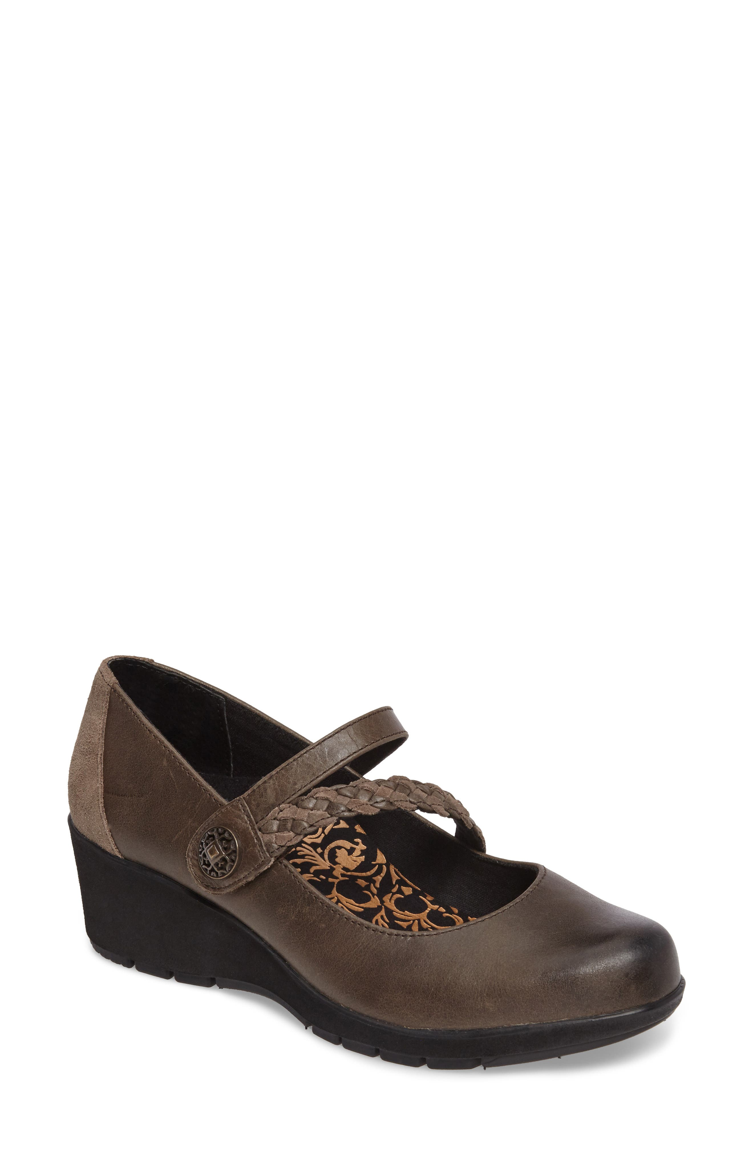 Ivy Mary Jane Wedge,                             Main thumbnail 1, color,                             IRON LEATHER