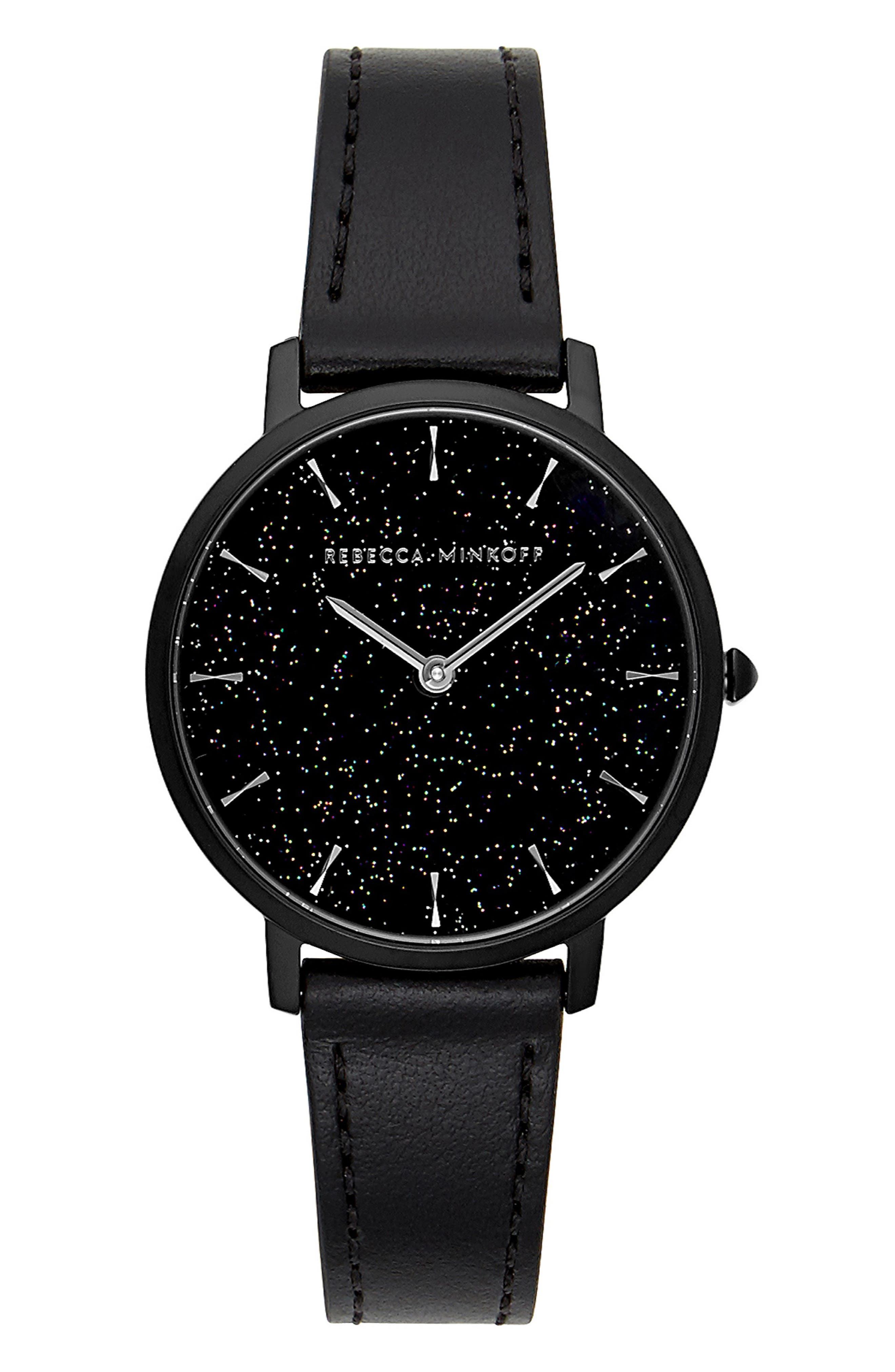 Major Leather Strap Watch, 35mm,                         Main,                         color, BLACK