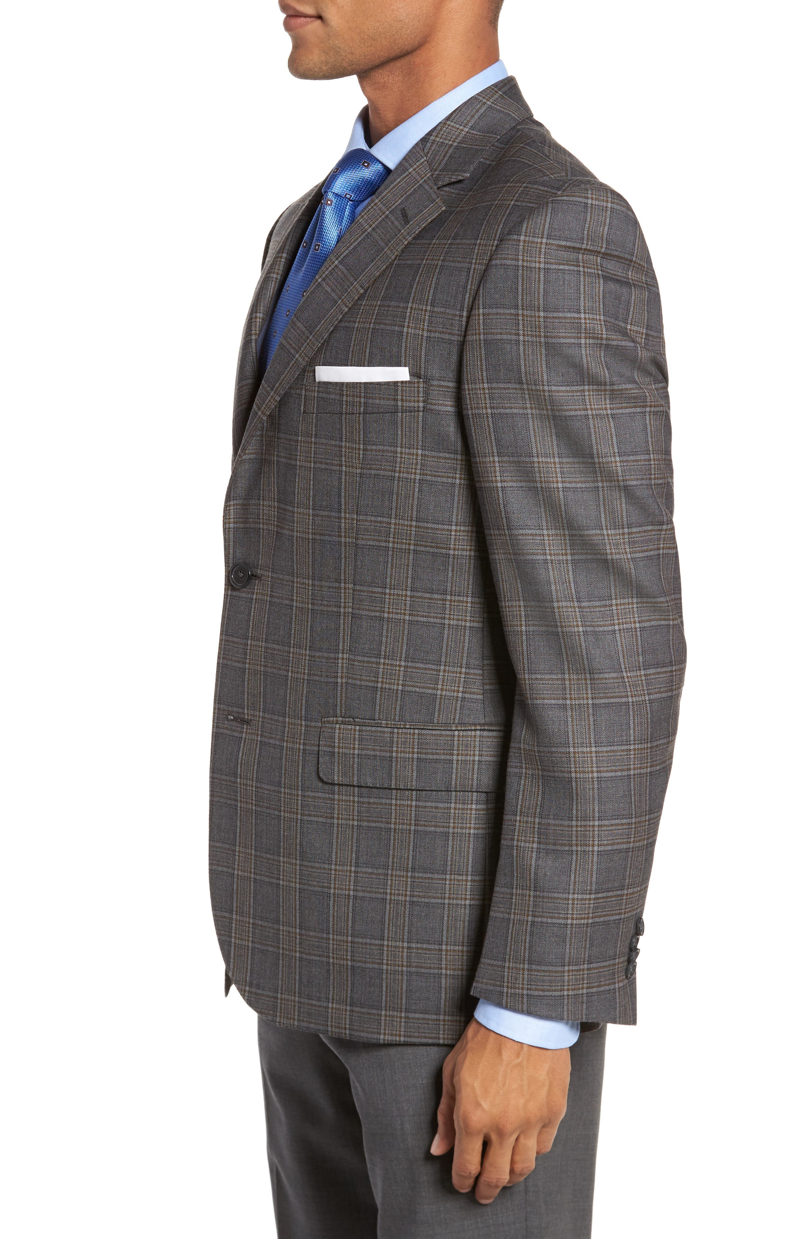 Classic Fit Plaid Wool Sport Coat,                             Alternate thumbnail 3, color,                             020