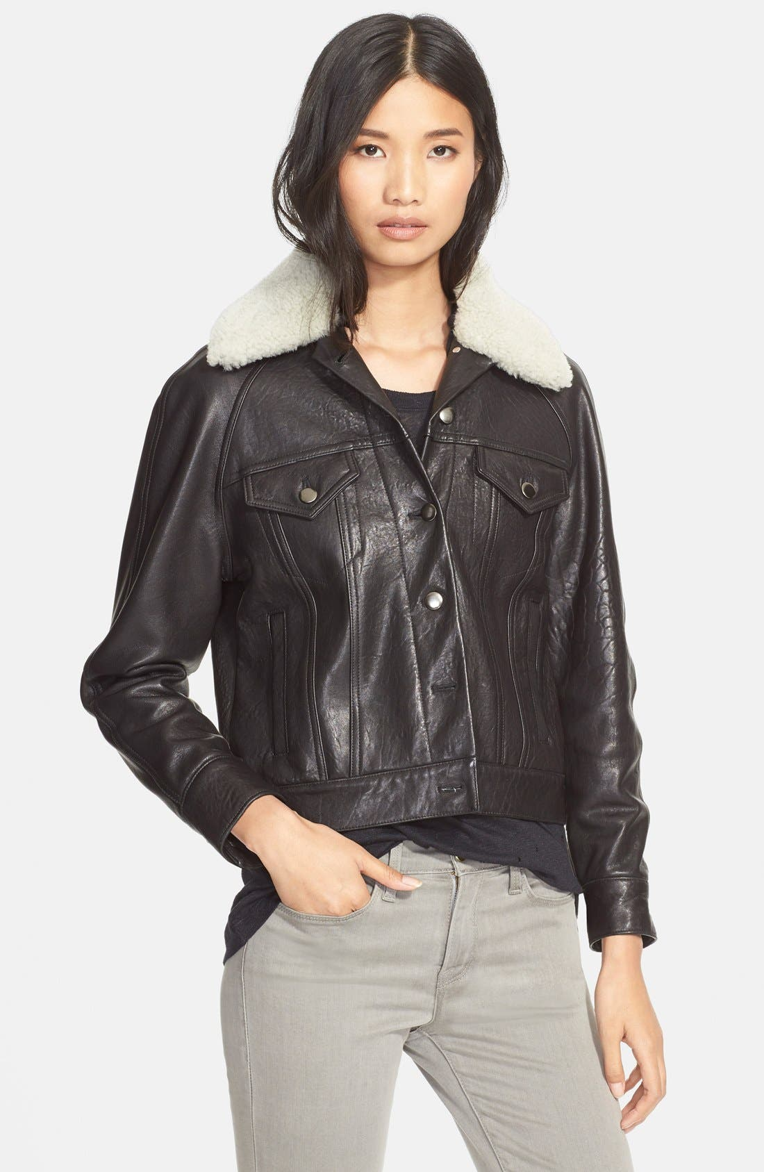 'Padre' Lambskin Leather Jacketwith Genuine ShearlingCollar, Main, color, 001