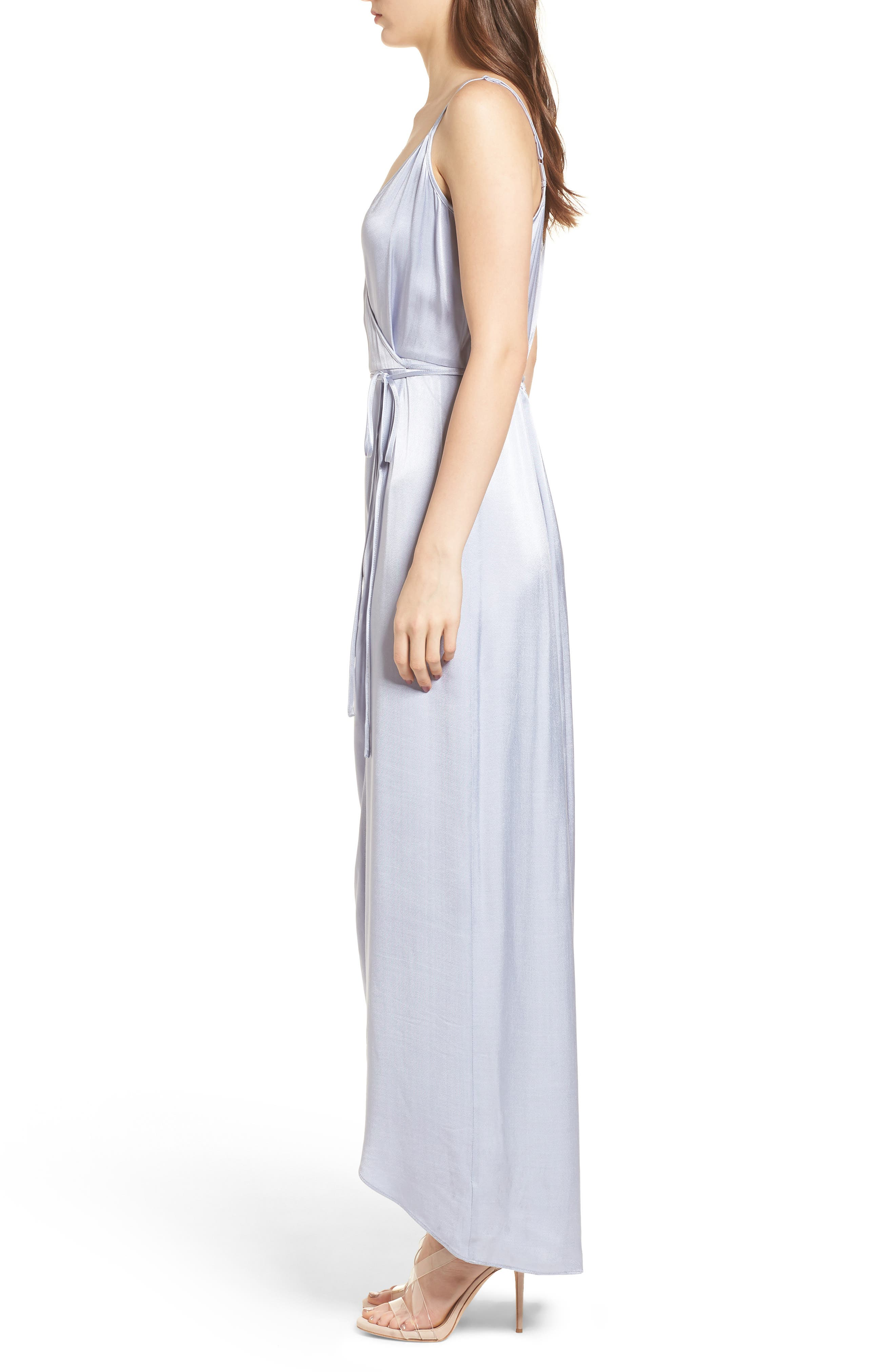 Teagan Satin Wrap Maxi Dress,                             Alternate thumbnail 3, color,                             400