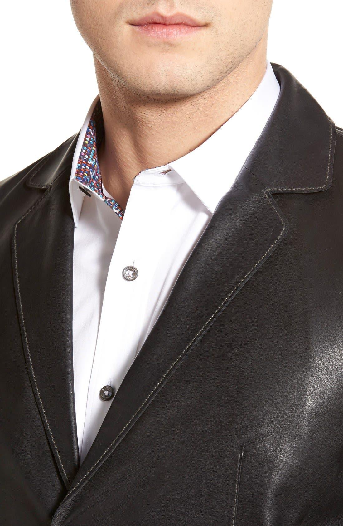 Lambskin Leather Sport Coat,                             Alternate thumbnail 2, color,                             BLACK