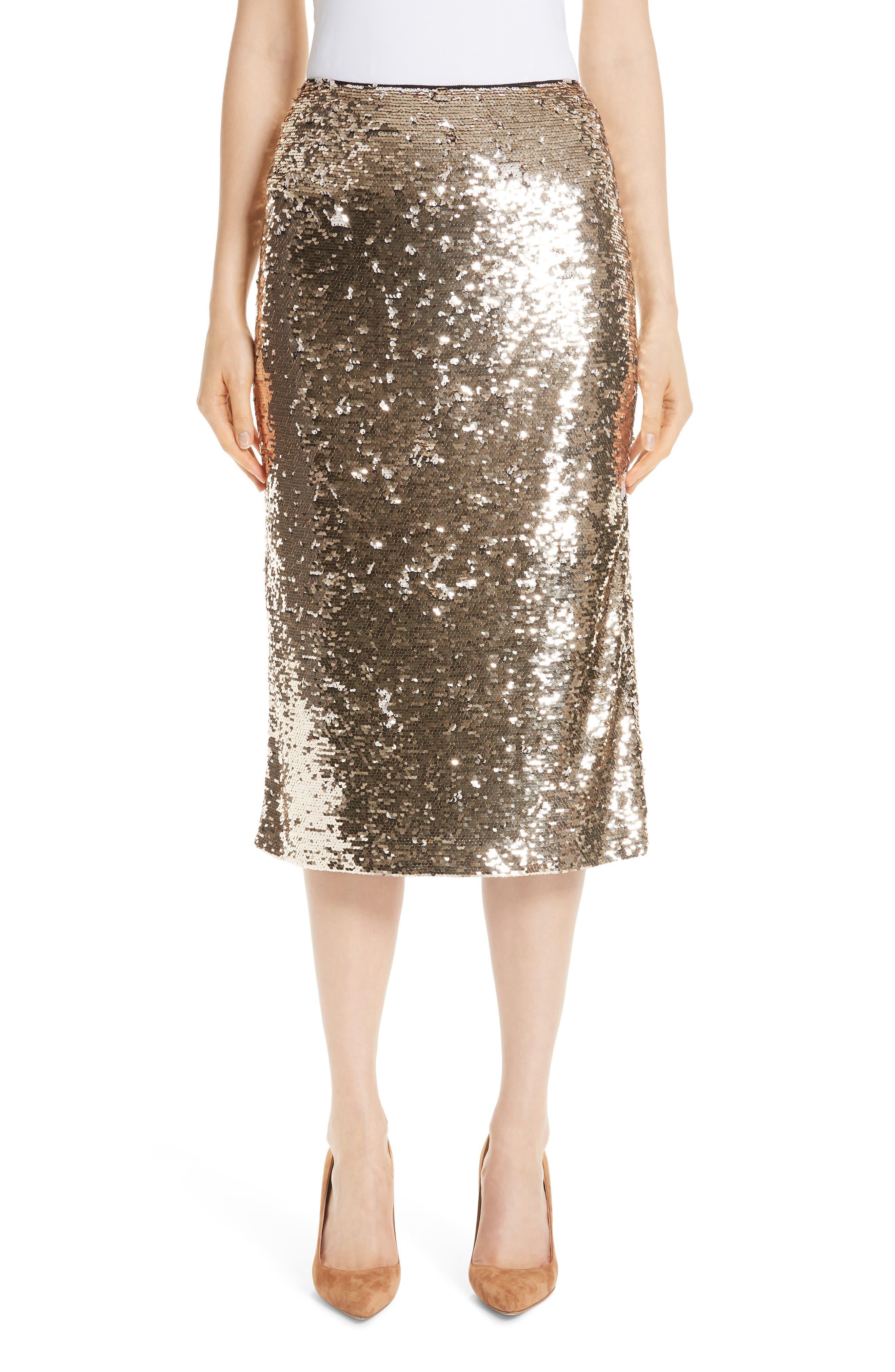 Casey Sequin Pencil Skirt, Main, color, BISQUE METALLIC
